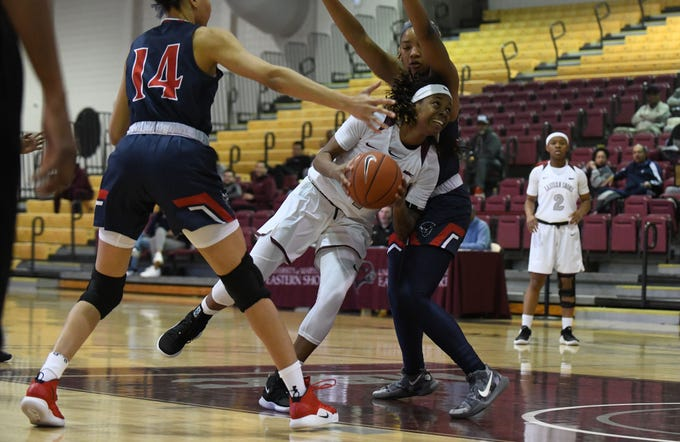 Maryland Eastern Shore's Bairesha Gill-Miles drives to the basket against Howard University on Monday, Jan 7, 2018.