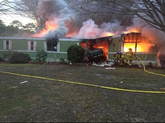 A vehicle crashed into a home in Wachapreageu, Virginia, on Monday, Jan. 7, at around 5 p.m. causing a fire. Firefighters from Onancock Station 9 responded to the fire. Two people were taken to hospital.