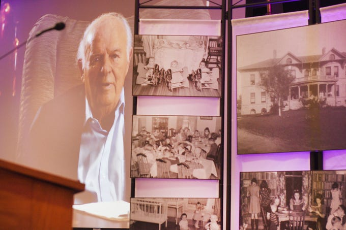 Philanthropist T. Denny Sanford takes part in the donation announcement through a video because he was at Sanford recovering from a hip surgery Tuesday, Jan. 8, in Sioux Falls. Sanford donated $55 million to the shelter.