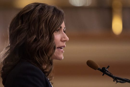 South Dakota Gov. Kristi Noem delivers her first State of the State address at the South Dakota state Capitol in Pierre on Jan. 8, 2019.