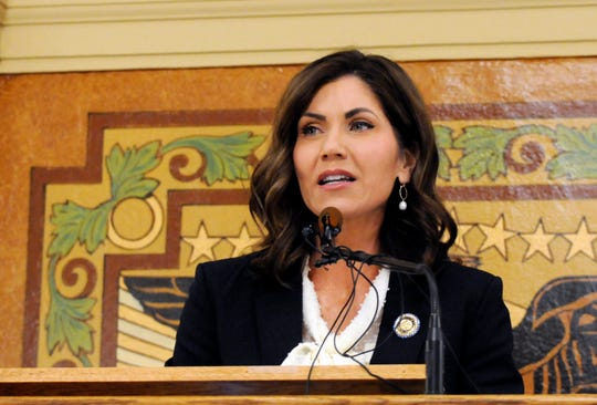 South Dakota Gov. Kristi Noem gives her first State of the State address in Pierre on Jan. 8, 2019. Noem outlined priorities including connecting more people to high-speed internet.