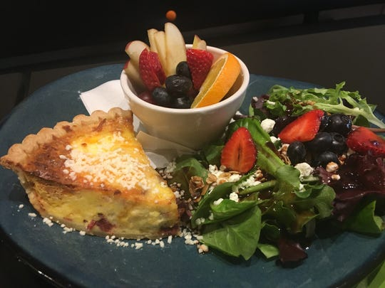 The quiche Lorraine ($12) is a wonderful option for breakfast or lunch. The rich quiche was balanced by the salad and fresh fruit.