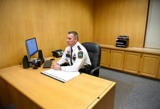 New Stearns County Sheriff Steve Soyka in his new office Monday, Jan. 7, Stearns County Law Enforcement Center.