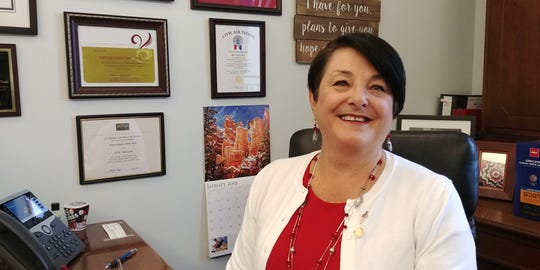 State Rep. Tama Theis poses for a photo in her St. Paul office on Tuesday, Jan. 8.