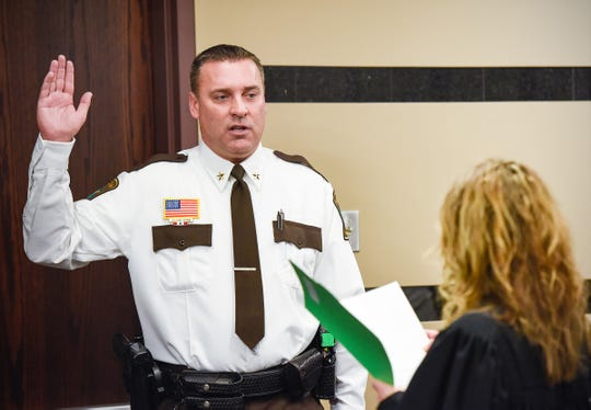 Stearns County Sheriff Steve Soyka is sworn in to office by Assistant Chief Judge Sarah E. Hennesy in this Jan. 8, 2019, file photo taken at the Stearns County Administration Center.