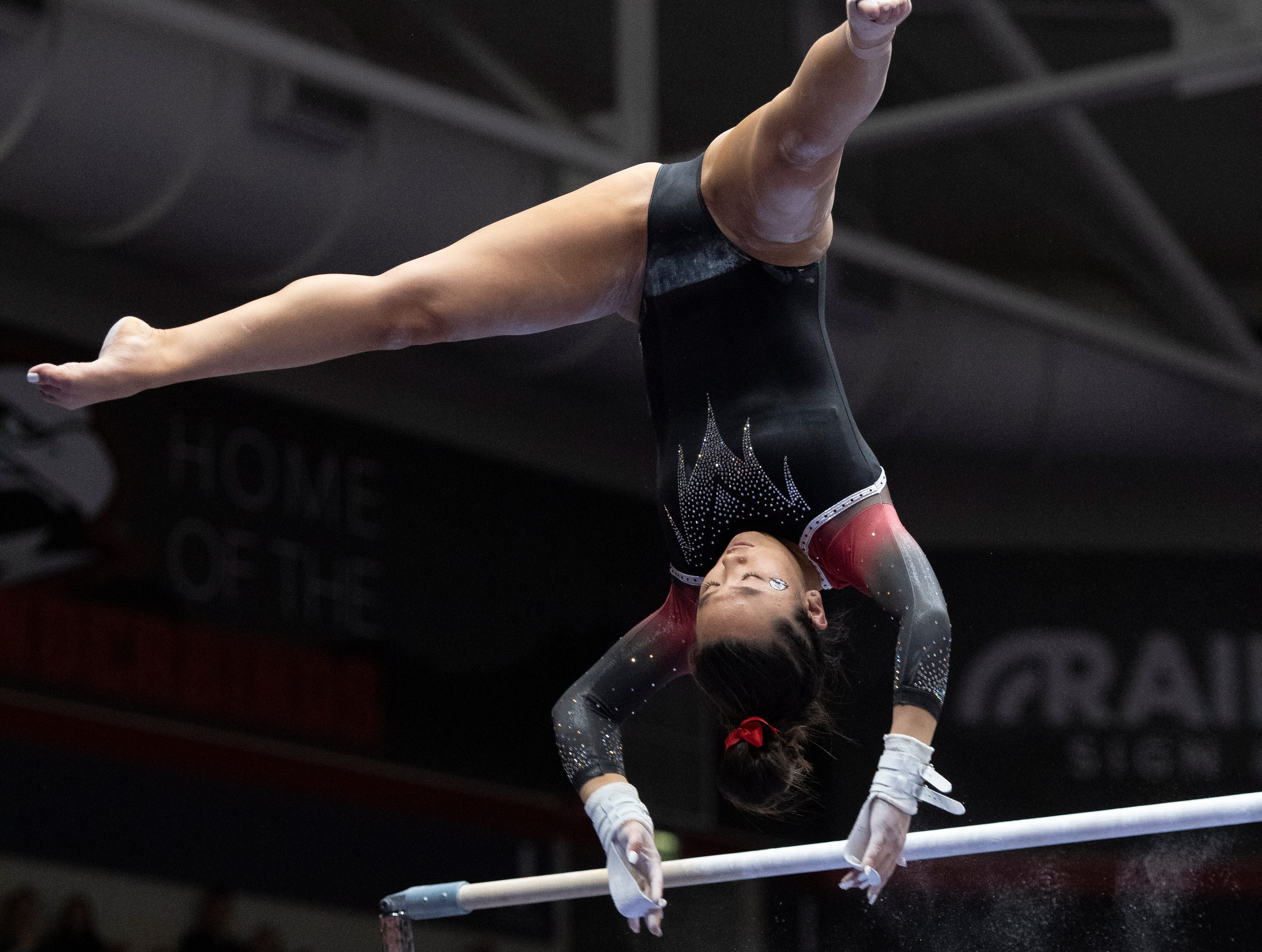 The Southern Utah Flippin' T-Birds win their gymnastics meet against New Hampshire in the America First Event Center Monday, January 7, 2019.