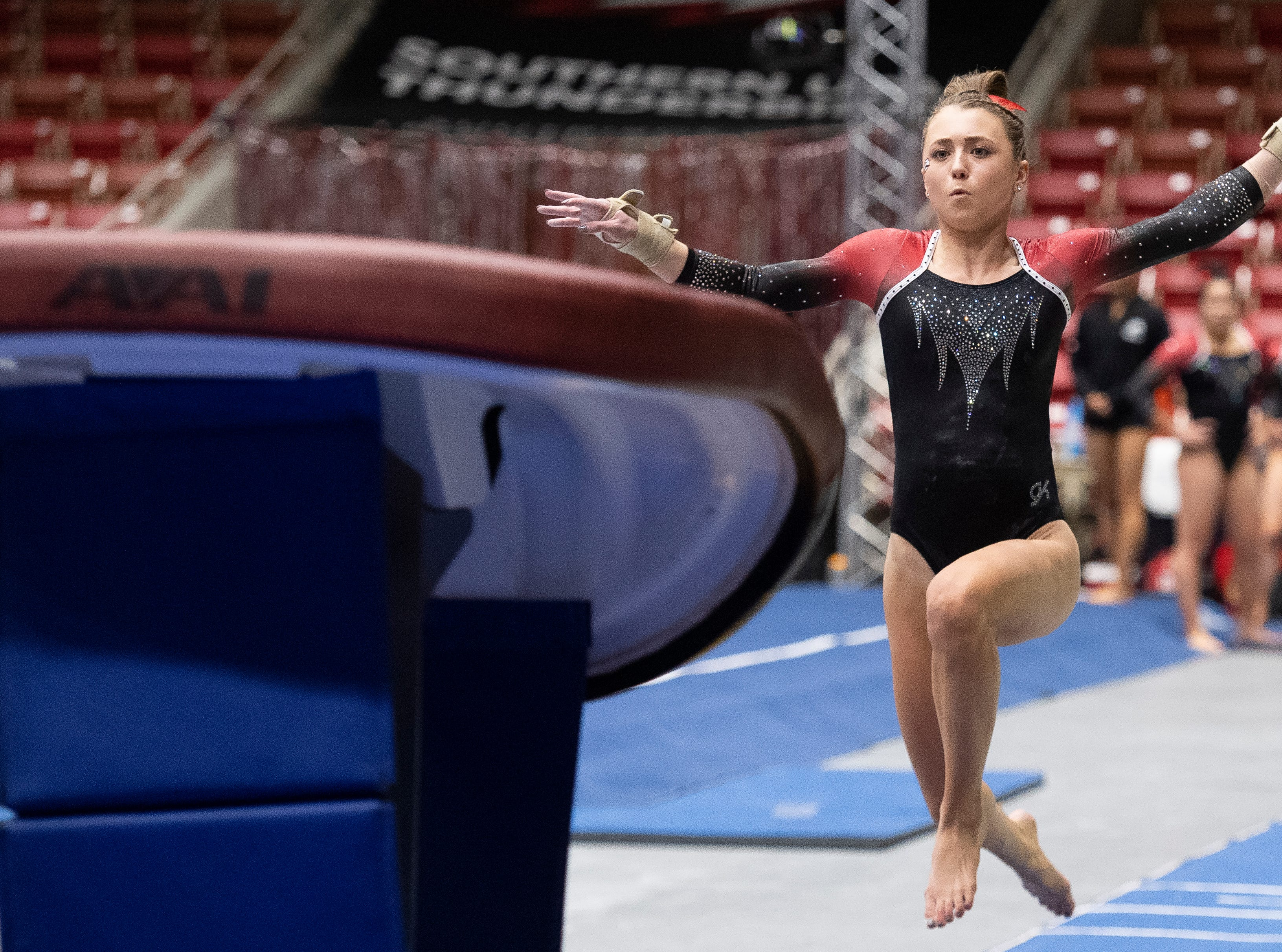 Southern Utah University sophomore Molly Jozwiakowski competes against New Hampshire in the America First Event Center Monday, January 7, 2019.
