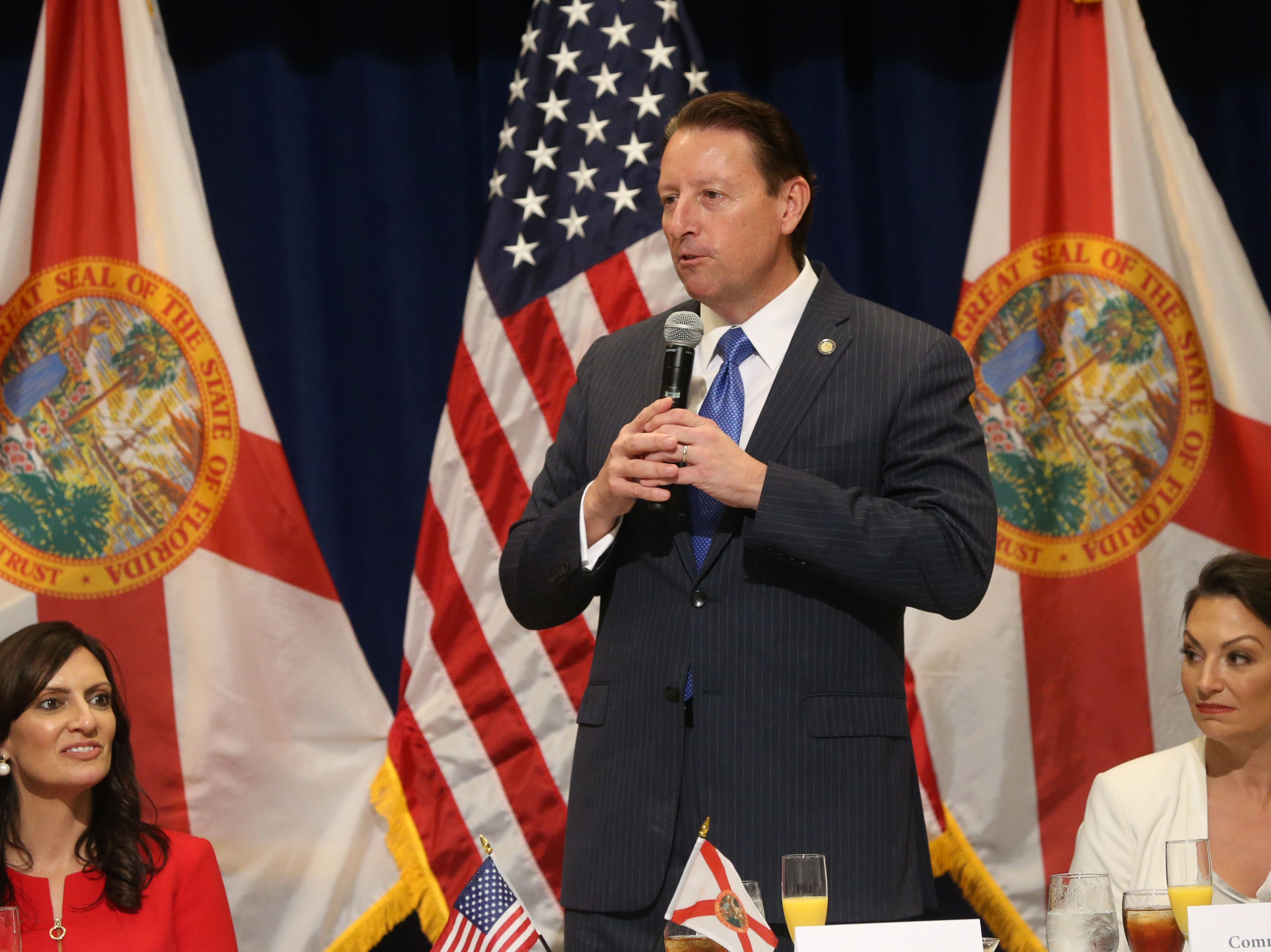 For the first time in Inaugural history, Gov. Ron DeSantis addresses FloridaÕs Legislative leaders and Cabinet officials. DeSantis discusses his plans to work with our stateÕs elected leaders to achieve a Bold Vision for a Brighter Future, Tuesday, Jan. 8, 2019. Senate President Bill Galvano gives a toast to Gov. Ron DeSantis.