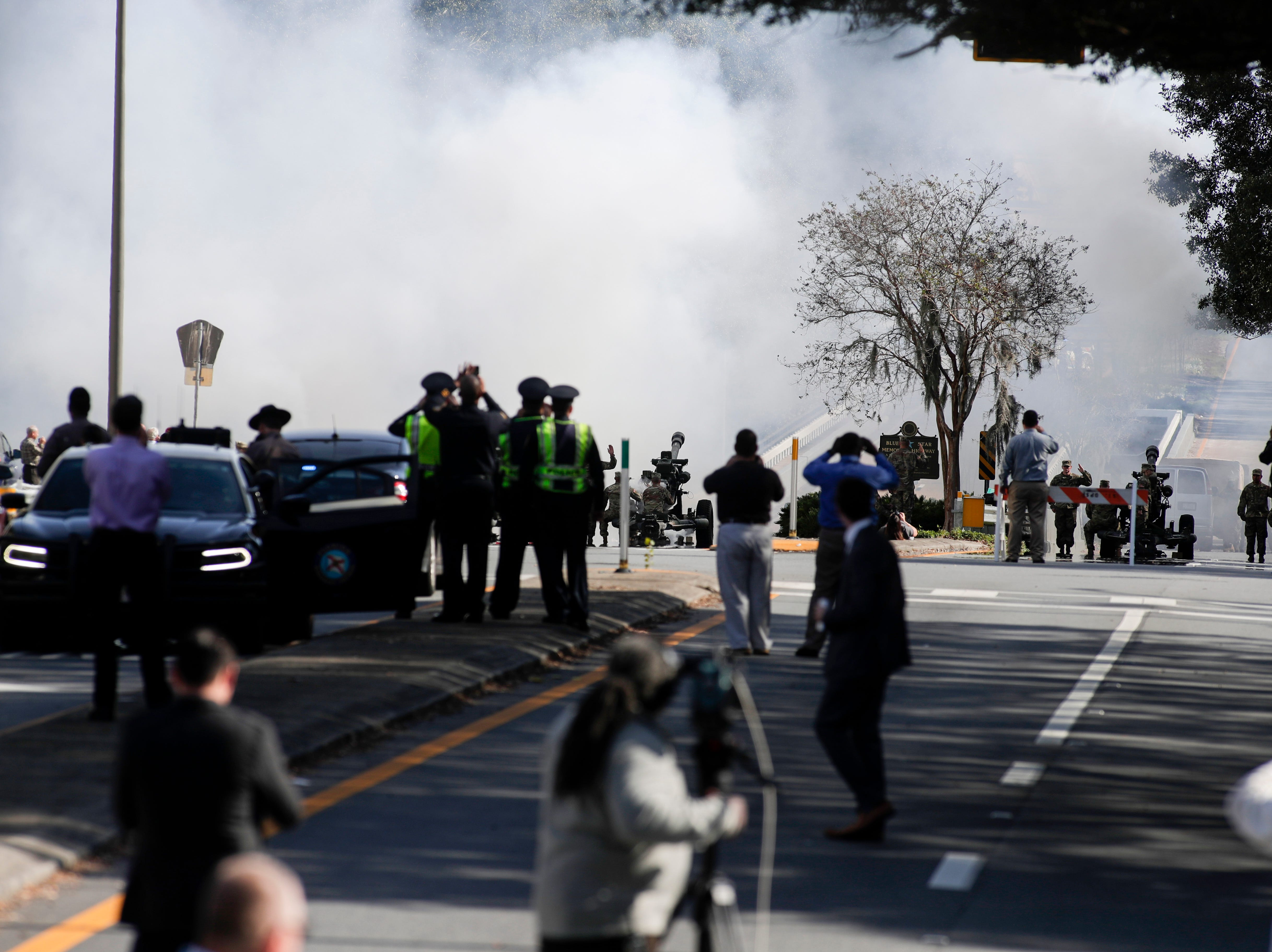Apalachee Parkway fills up with smoke as canons are blown after Gov. Ron DeSantis takes the oath of office during the 2019 inauguration ceremony on the steps of the Historic Capitol Building in Tallahassee Tuesday, Jan. 8, 2019.