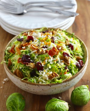Thin slices are key to Brussels Sprout Salad with Citrus Vinaigrette Recipe.
