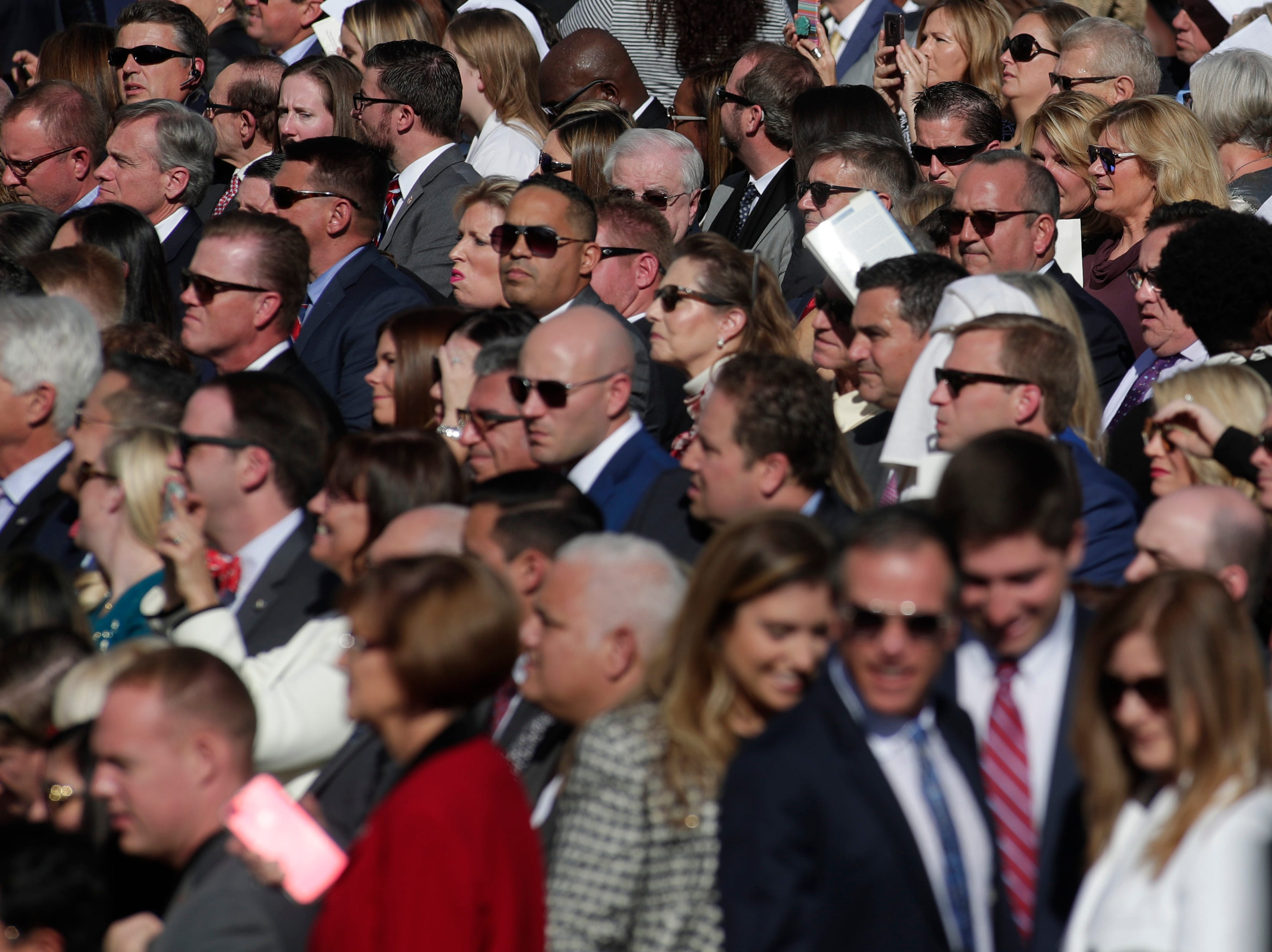 The crowd filters in before the 2019 inauguration ceremony on the steps of the Historic Capitol Building in Tallahassee Tuesday, Jan. 8, 2019.