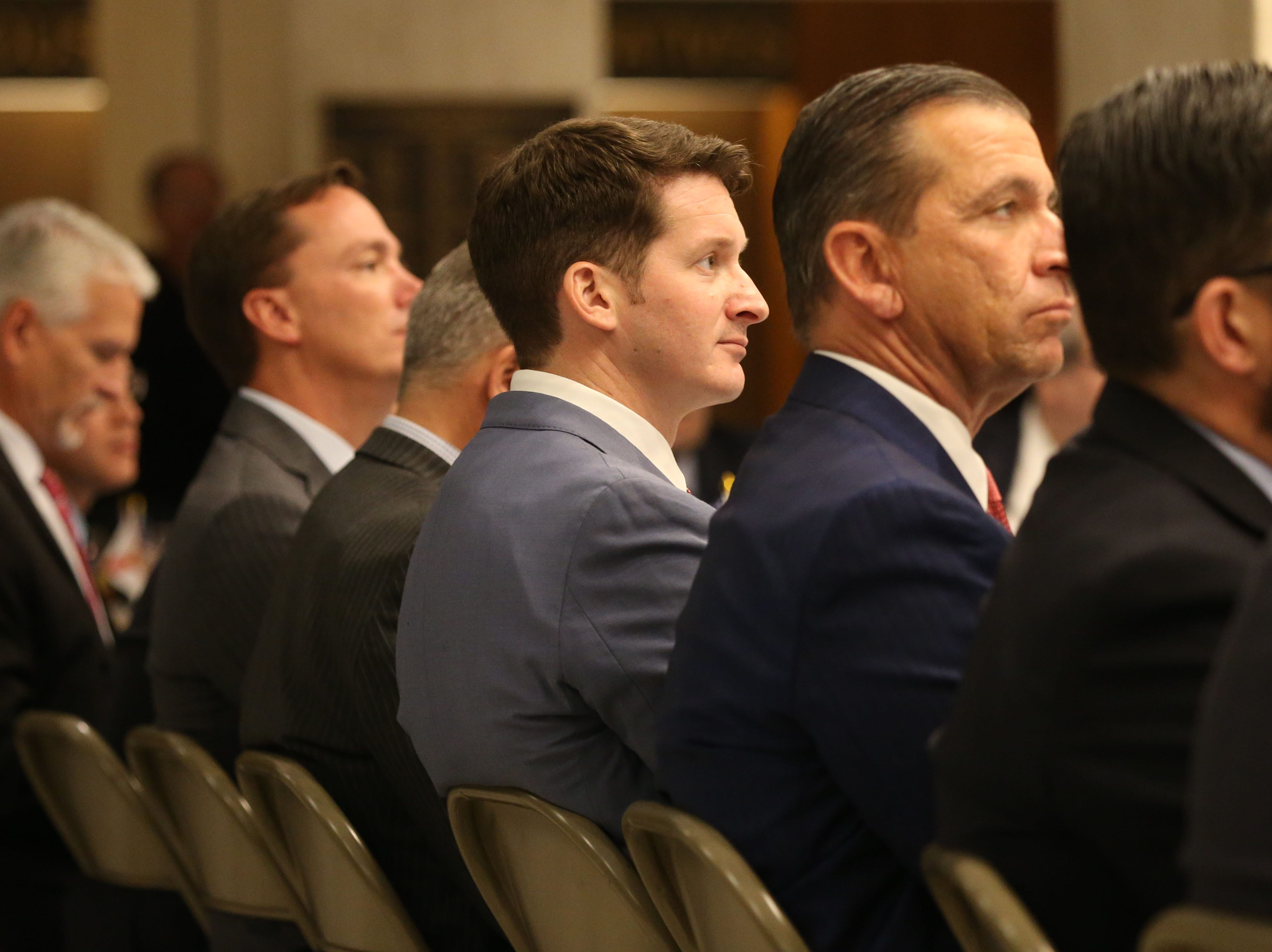 For the first time in Inaugural history, Gov. Ron DeSantis addresses FloridaÕs Legislative leaders and Cabinet officials. DeSantis discusses his plans to work with our stateÕs elected leaders to achieve a Bold Vision for a Brighter Future, Tuesday, Jan. 8, 2019. Representative Dane Eagle listens intently as Gov. Ron DeSantis speaks at the luncheon.