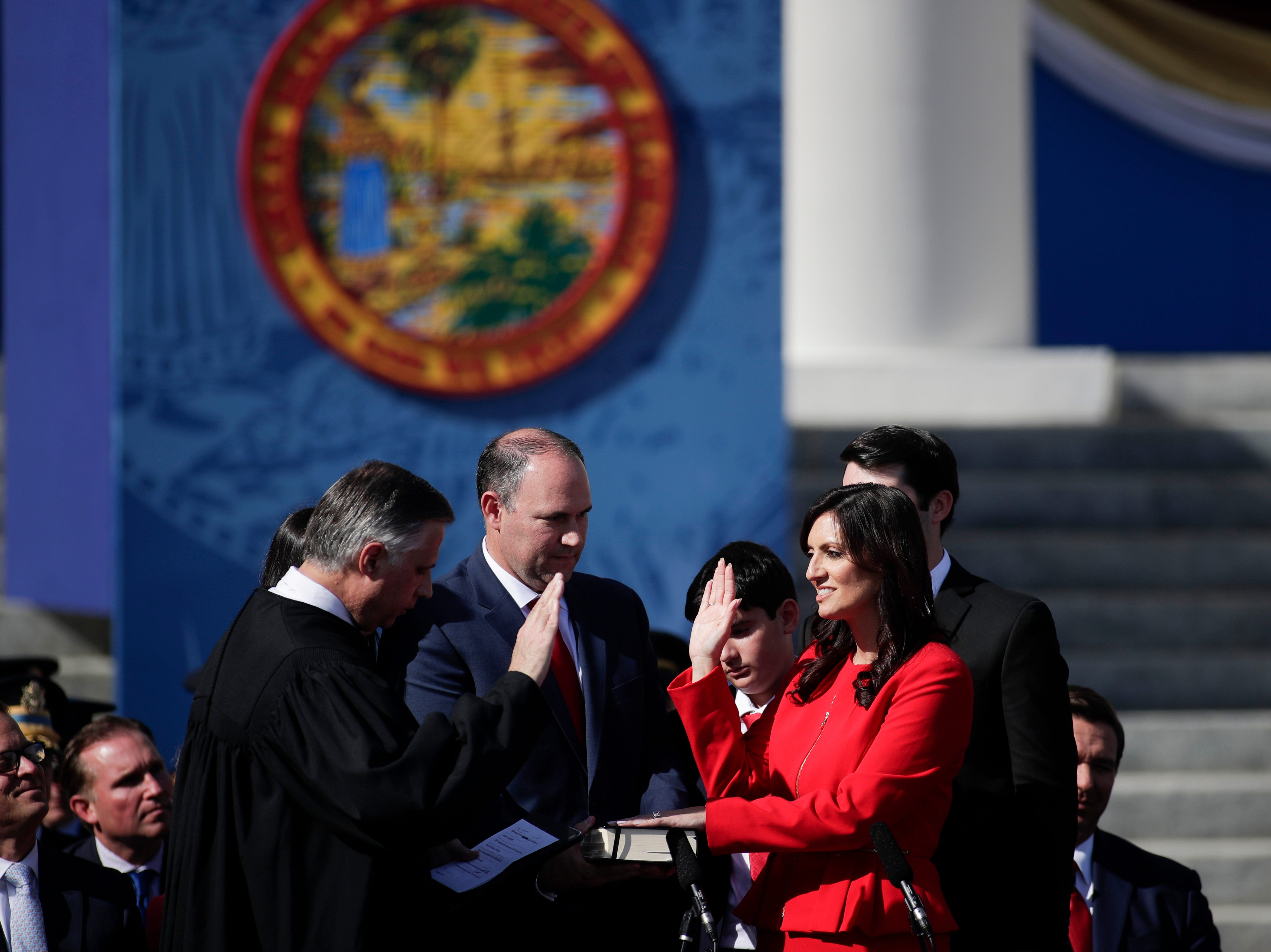 Lt. Gov. Jeanette Nunez takes the oath of office from Judge Larry Metz during the 2019 inauguration ceremony on the steps of the Historic Capitol Building in Tallahassee Tuesday, Jan. 8, 2019.
