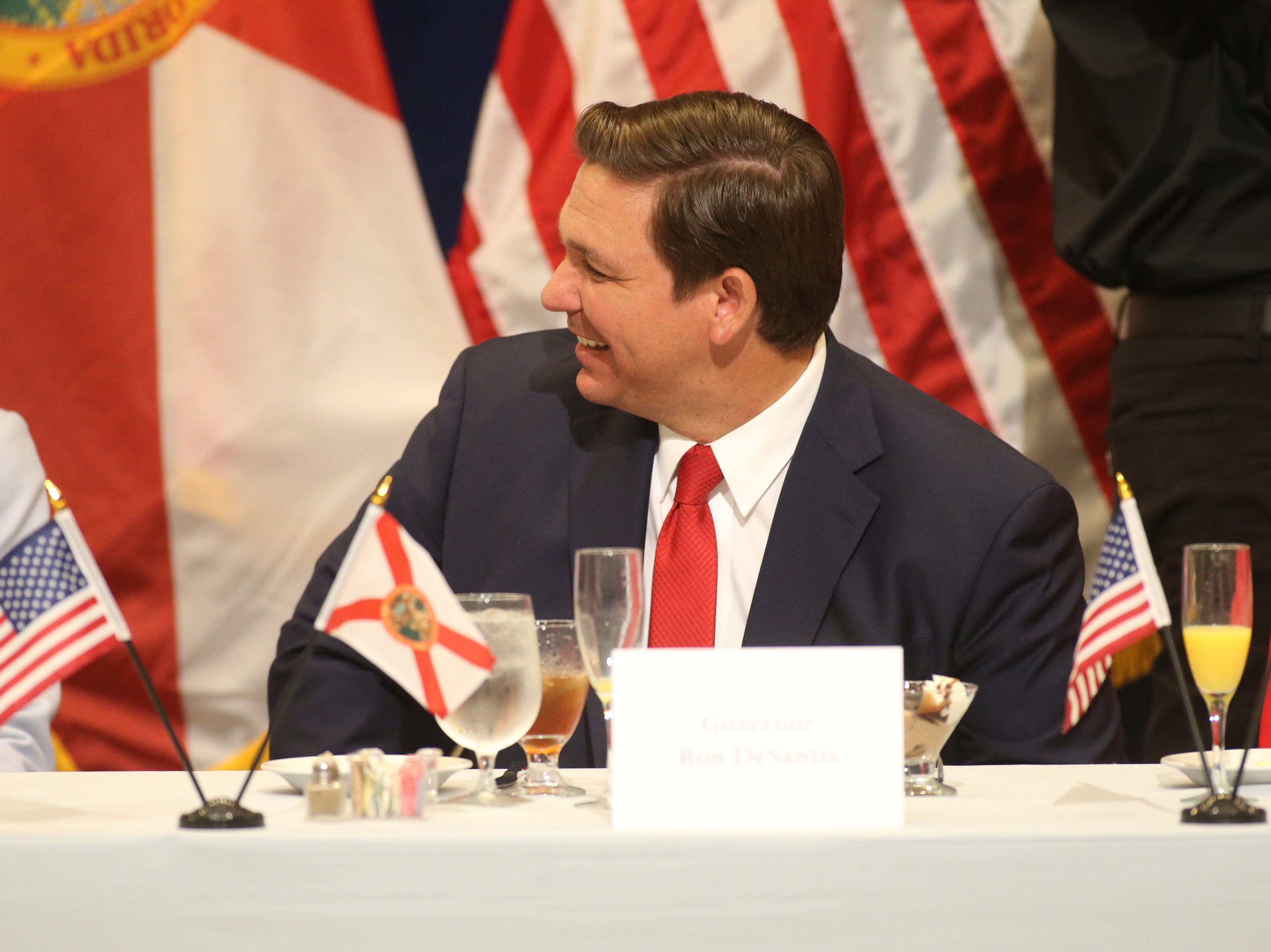 For the first time in Inaugural history, Gov. Ron DeSantis addresses FloridaÕs Legislative leaders and Cabinet officials. DeSantis discusses his plans to work with our stateÕs elected leaders to achieve a Bold Vision for a Brighter Future, Tuesday, Jan. 8, 2019. Gov. Ron DeSantis laughs with guests during the luncheon.