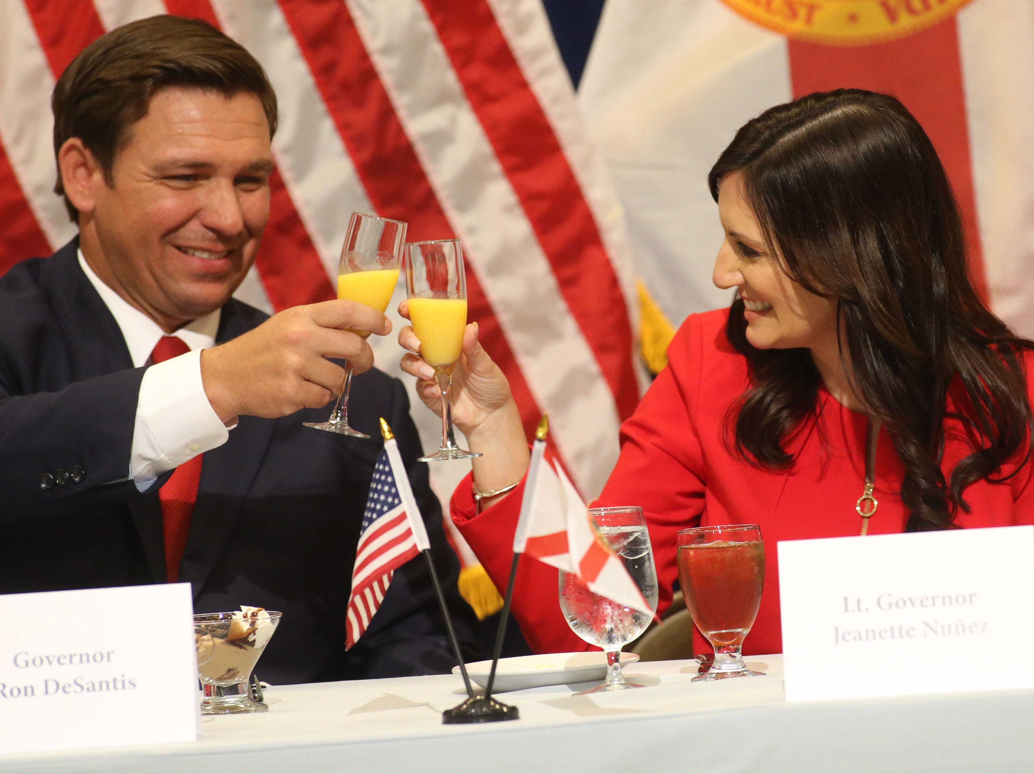 For the first time in Inaugural history, Gov. Ron DeSantis addresses FloridaÕs Legislative leaders and Cabinet officials. DeSantis discusses his plans to work with our stateÕs elected leaders to achieve a Bold Vision for a Brighter Future, Tuesday, Jan. 8, 2019. Gov. Ron DeSantis, left, toasts with Lt. Gov. Jeanette Nunez.