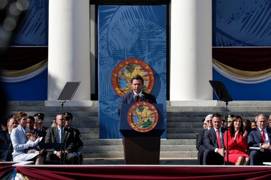 Gov. Ron DeSantis gives his inaugural speech after taking the oath of office during the 2019 inauguration ceremony on the steps of the Historic Capitol Building in Tallahassee Tuesday, Jan. 8, 2019.
