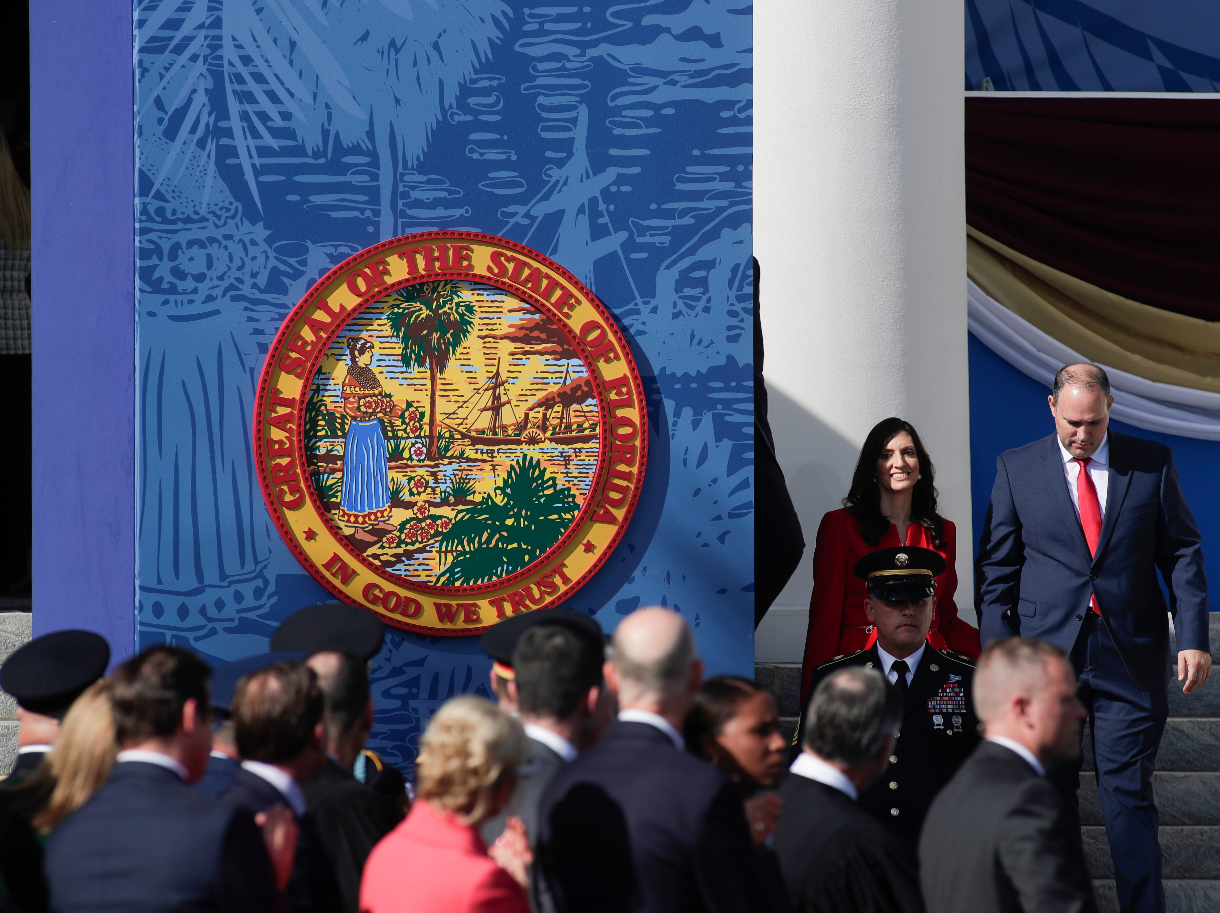 Lt. Gov. Jeanette Nu–ez is escorted to her seat by her husband Adrian Nu–ez during the 2019 inauguration ceremony on the steps of the Historic Capitol Building in Tallahassee Tuesday, Jan. 8, 2019.