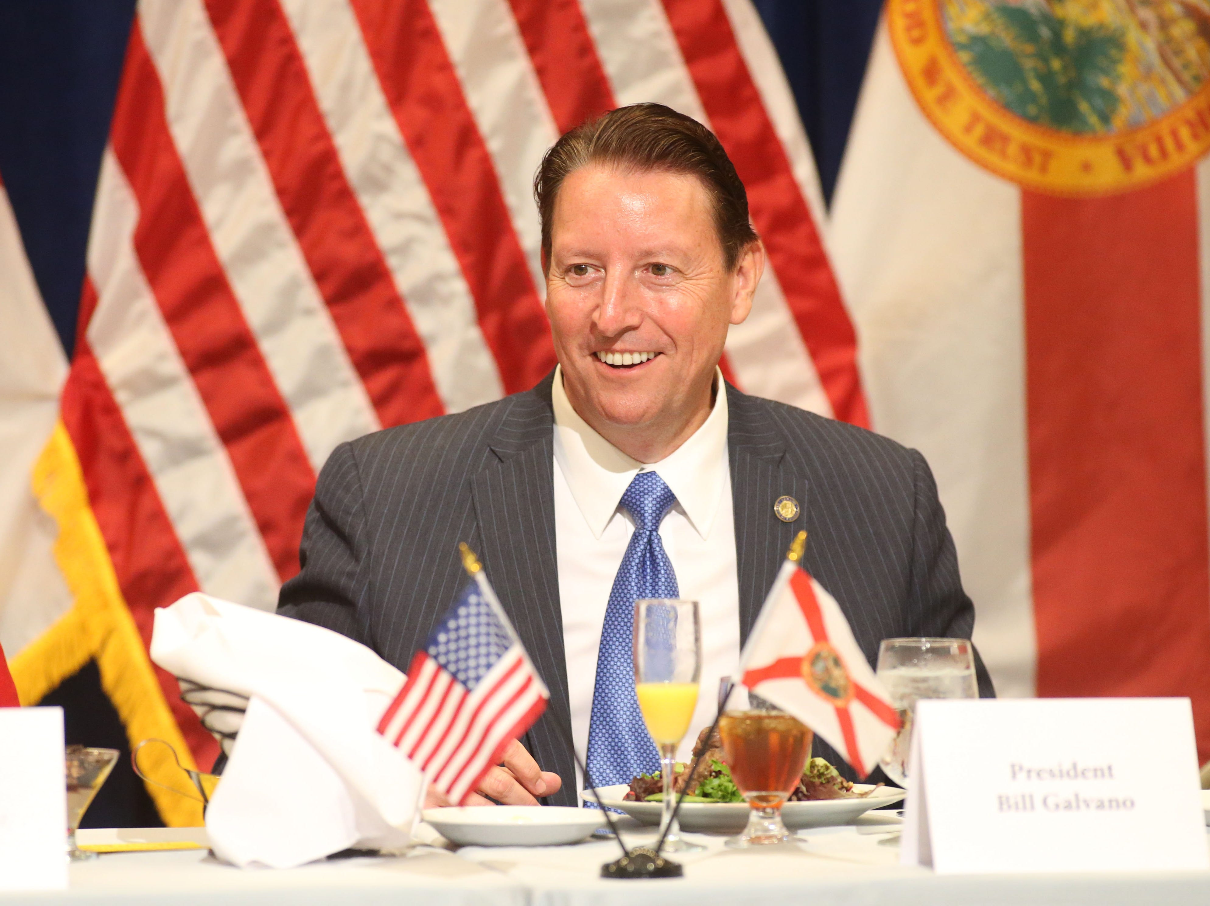 For the first time in Inaugural history, Gov. Ron DeSantis addresses FloridaÕs Legislative leaders and Cabinet officials. DeSantis discusses his plans to work with our stateÕs elected leaders to achieve a Bold Vision for a Brighter Future, Tuesday, Jan. 8, 2019. Senate President Bill Galvano smiles as food is being served.