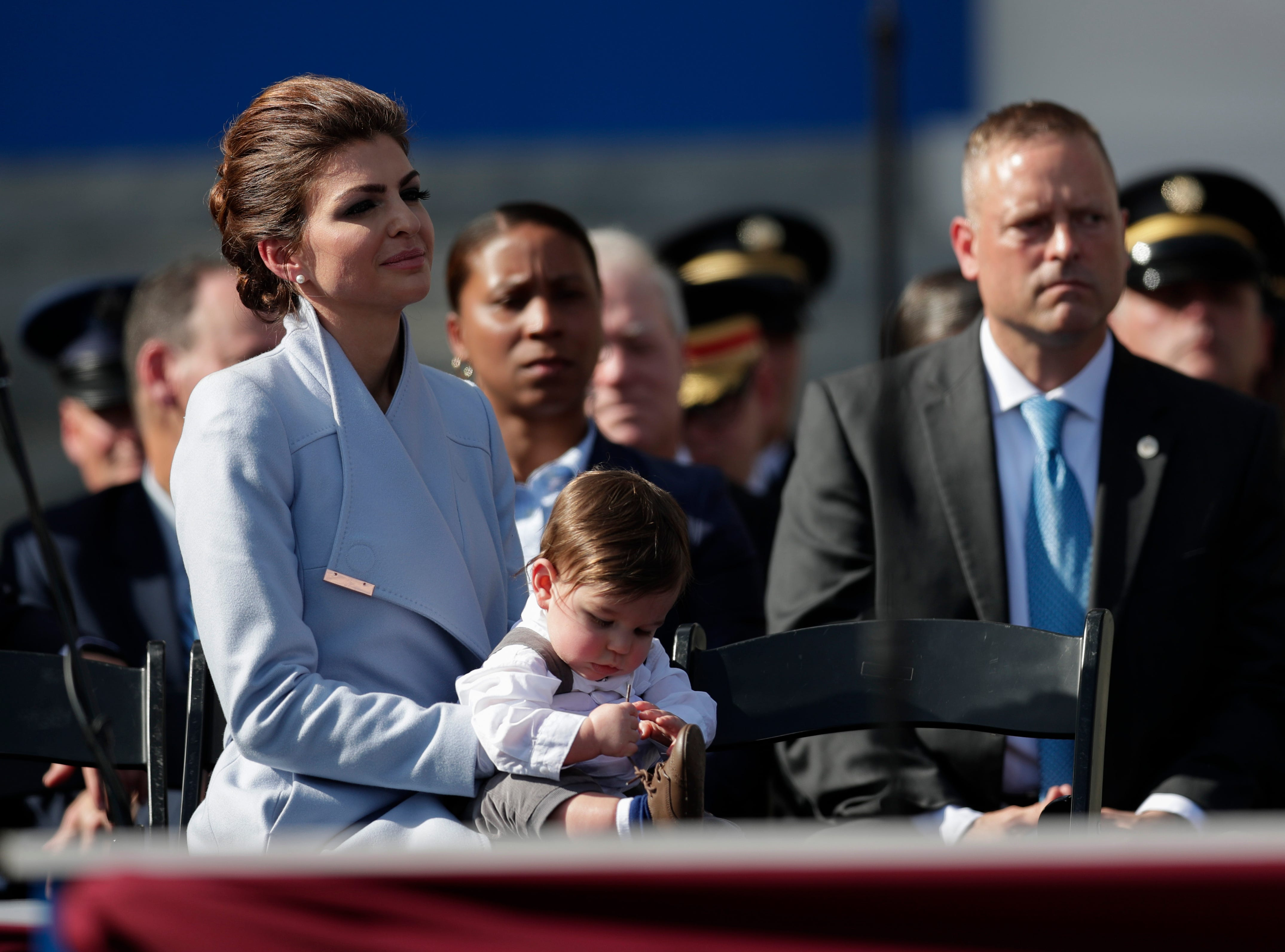 First lady Casey DeSantis listens as her husband Gov. Ron DeSantis gives his inaugural speech during the 2019 inauguration ceremony on the steps of the Historic Capitol Building in Tallahassee Tuesday, Jan. 8, 2019.