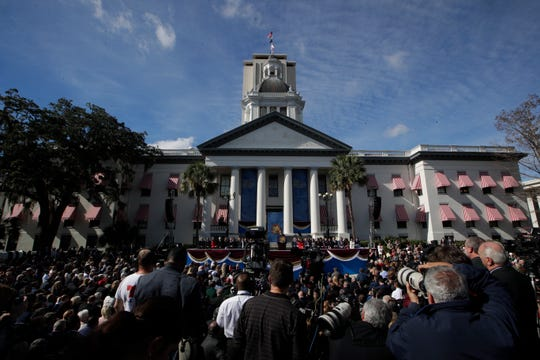 Gov. Ron DeSantis gives his inaugural speech during the 2019 inauguration ceremony on the steps of the Historic Capitol Building in Tallahassee Tuesday, Jan. 8, 2019.