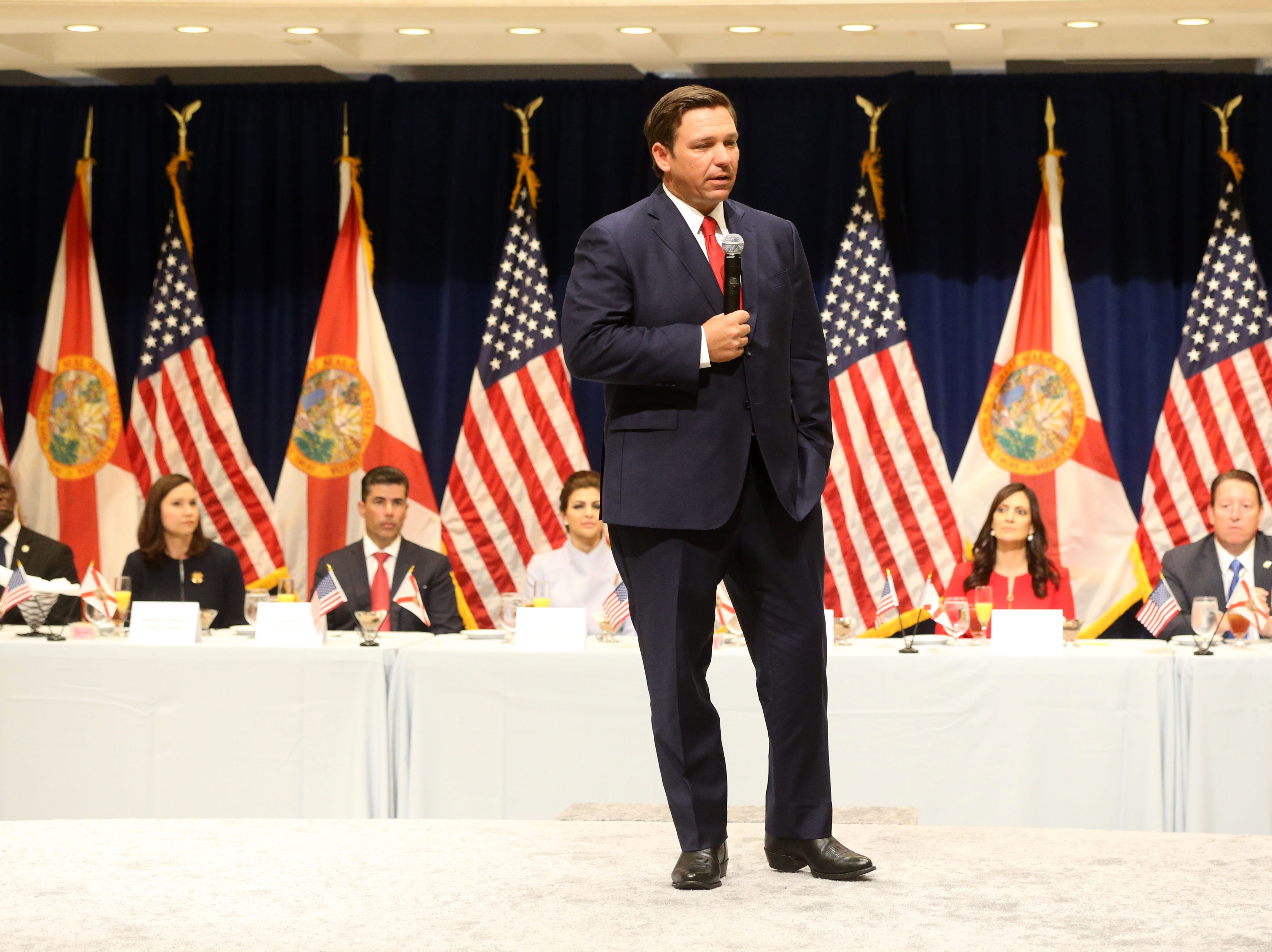 For the first time in Inaugural history, Gov. Ron DeSantis addresses FloridaÕs Legislative leaders and Cabinet officials. DeSantis discusses his plans to work with our stateÕs elected leaders to achieve a Bold Vision for a Brighter Future, Tuesday, Jan. 8, 2019. Gov. Ron DeSantis speaks to a room of Florida politicians at the luncheon.