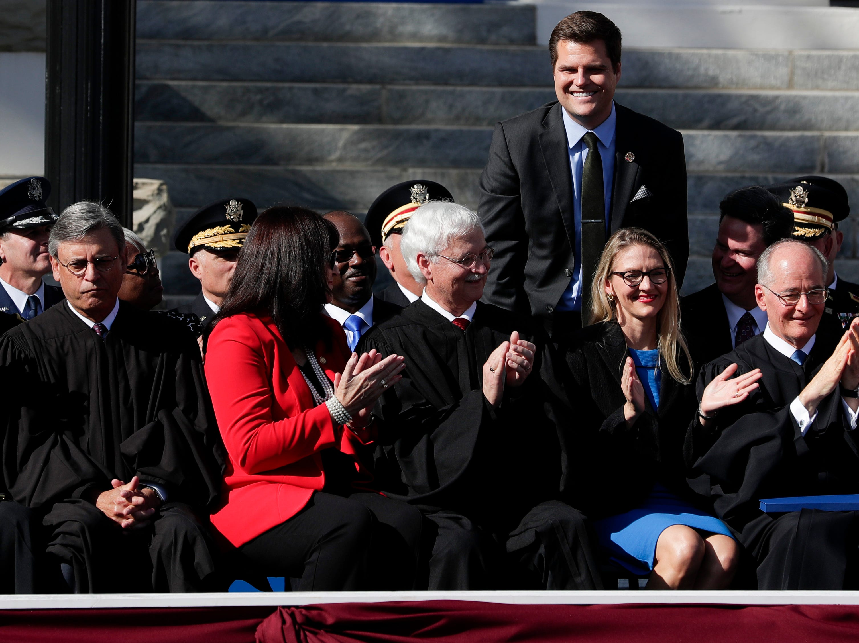 Congressman Matt Gates is introduced during the 2019 inauguration ceremony on the steps of the Historic Capitol Building in Tallahassee Tuesday, Jan. 8, 2019.