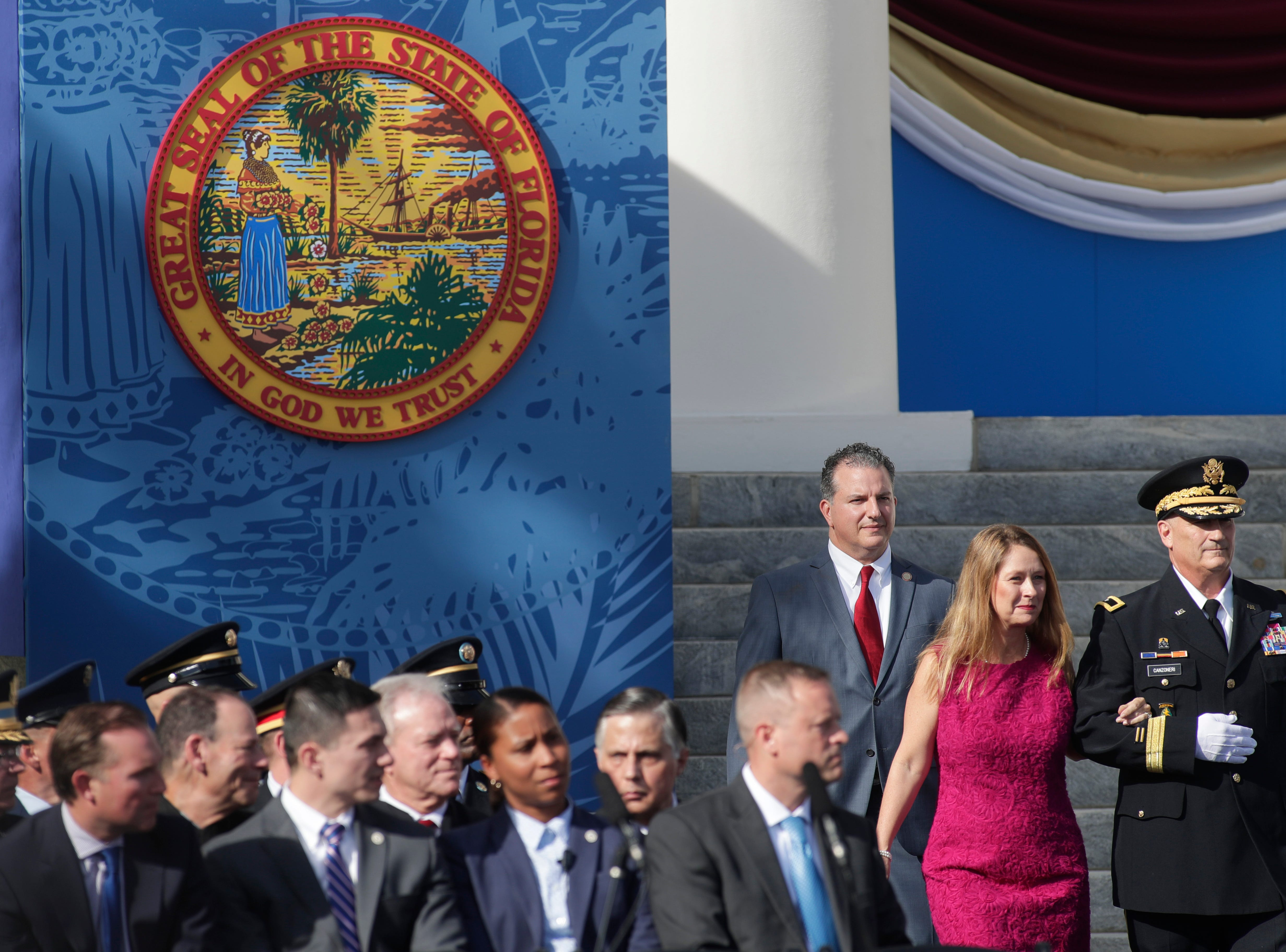 Chief Financial Officer Jimmy Patronis and Katie Patronis are escorted to their seats during the 2019 inauguration ceremony on the steps of the Historic Capitol Building in Tallahassee Tuesday, Jan. 8, 2019.