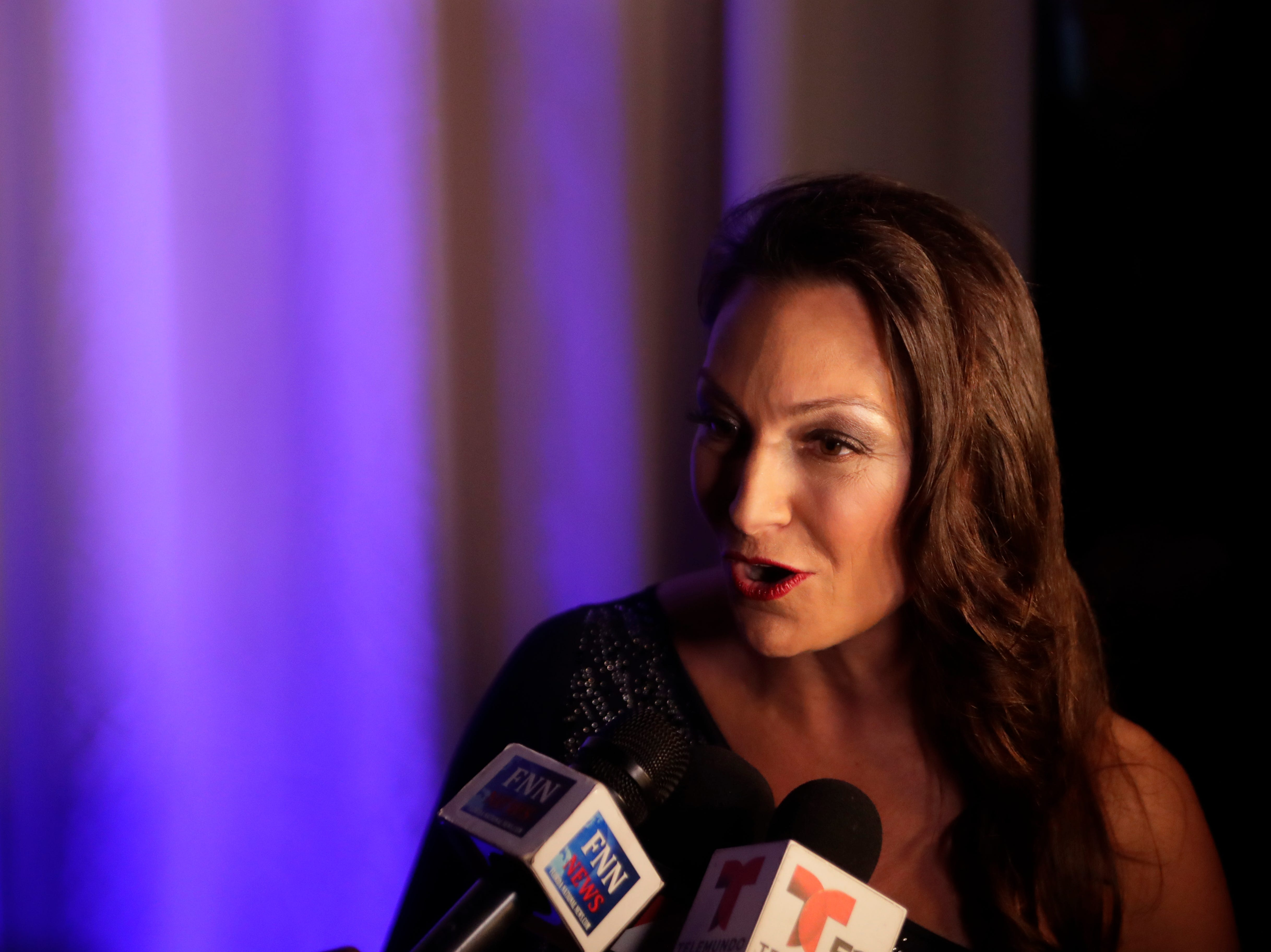 """Agriculture and Consumer Services Commissioner Nikki Fried talks to the press during the """"Growing a Stronger Florida"""" Inaugural Celebration honoring Fried in the University Center Club at Florida State University Monday, Jan. 7, 2019."""