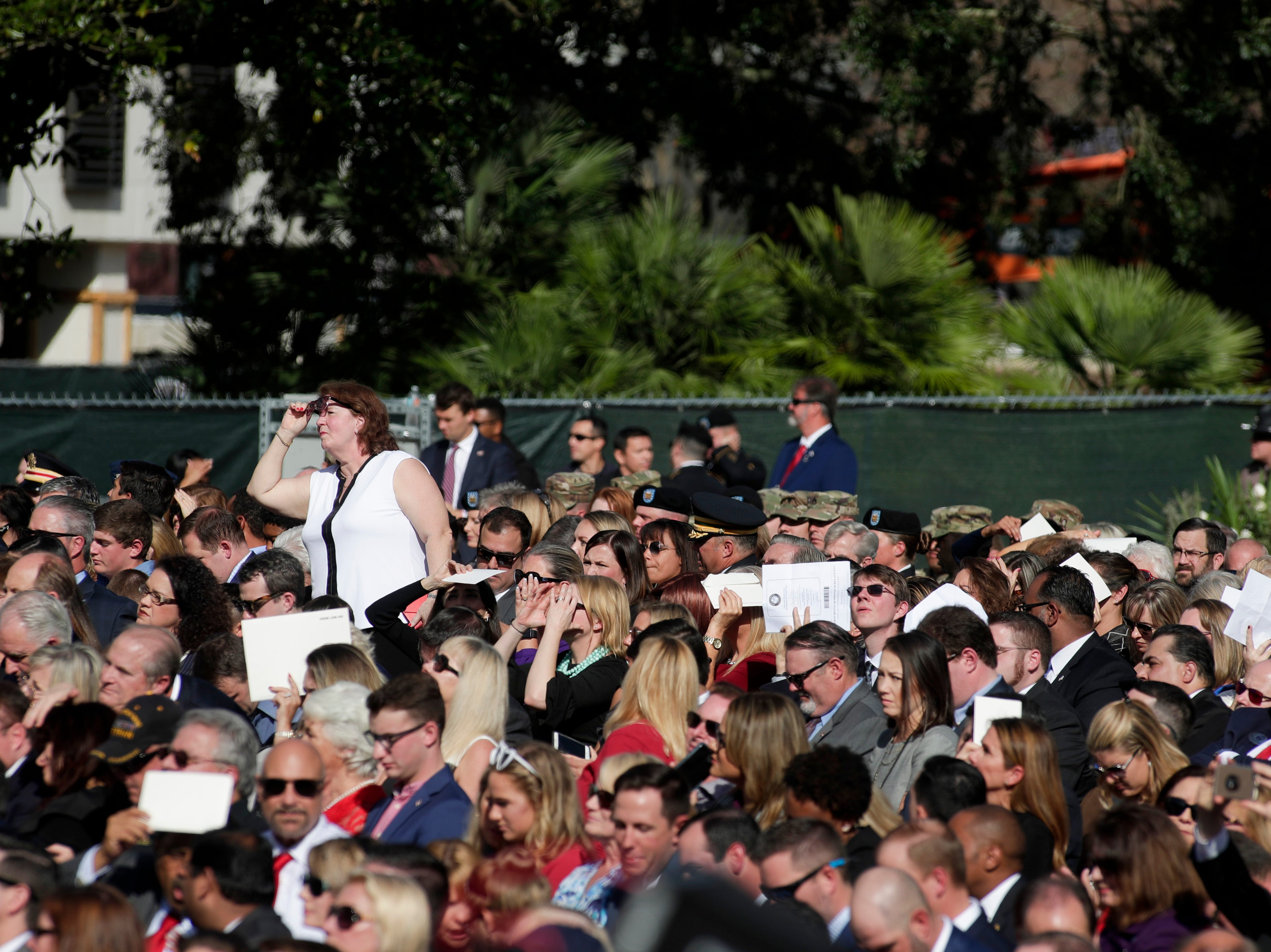 The crowd watches during the 2019 inauguration ceremony on the steps of the Historic Capitol Building in Tallahassee Tuesday, Jan. 8, 2019.