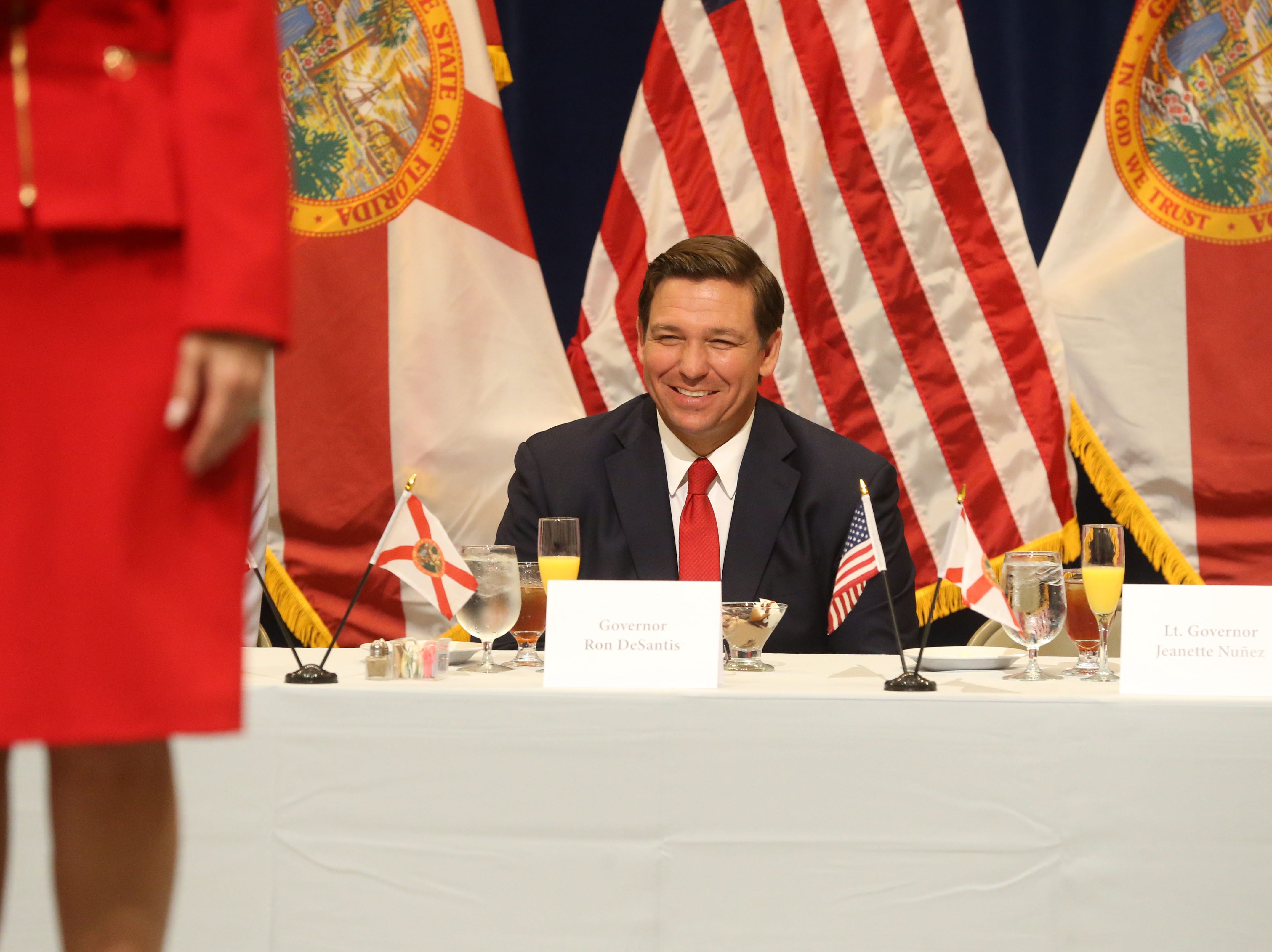 For the first time in Inaugural history, Gov. Ron DeSantis addresses FloridaÕs Legislative leaders and Cabinet officials. DeSantis discusses his plans to work with our stateÕs elected leaders to achieve a Bold Vision for a Brighter Future, Tuesday, Jan. 8, 2019. Gov. Ron DeSantis chuckles as he listens to Lt. Gov. Jeanette Nunez speak at the luncheon.