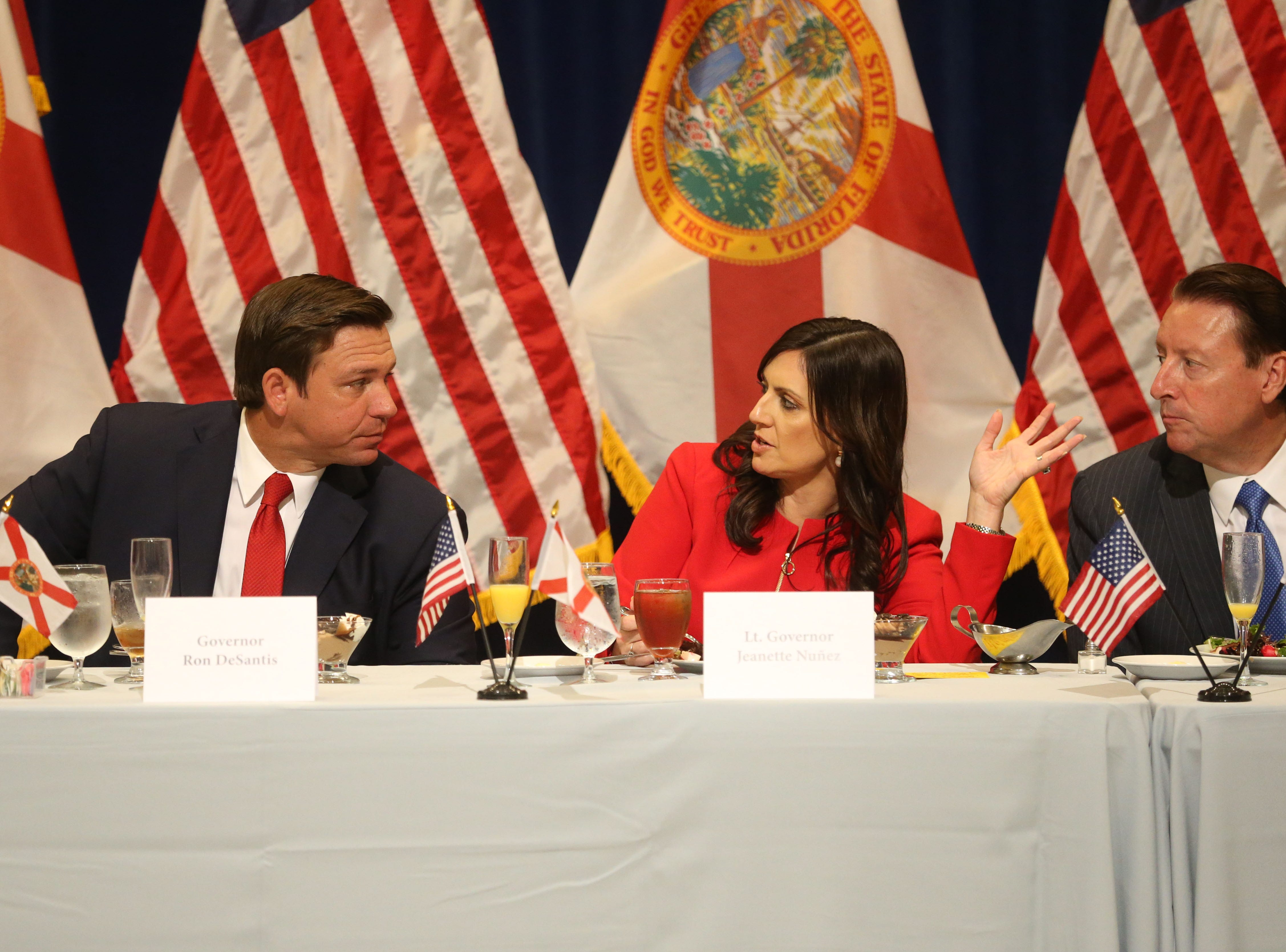 For the first time in Inaugural history, Gov. Ron DeSantis addresses FloridaÕs Legislative leaders and Cabinet officials. DeSantis discusses his plans to work with our stateÕs elected leaders to achieve a Bold Vision for a Brighter Future, Tuesday, Jan. 8, 2019. Gov. Ron DeSantis, left, Lt. Gov. Jeanette Nunez, and Senate President Bill Galvano converse during the luncheon.