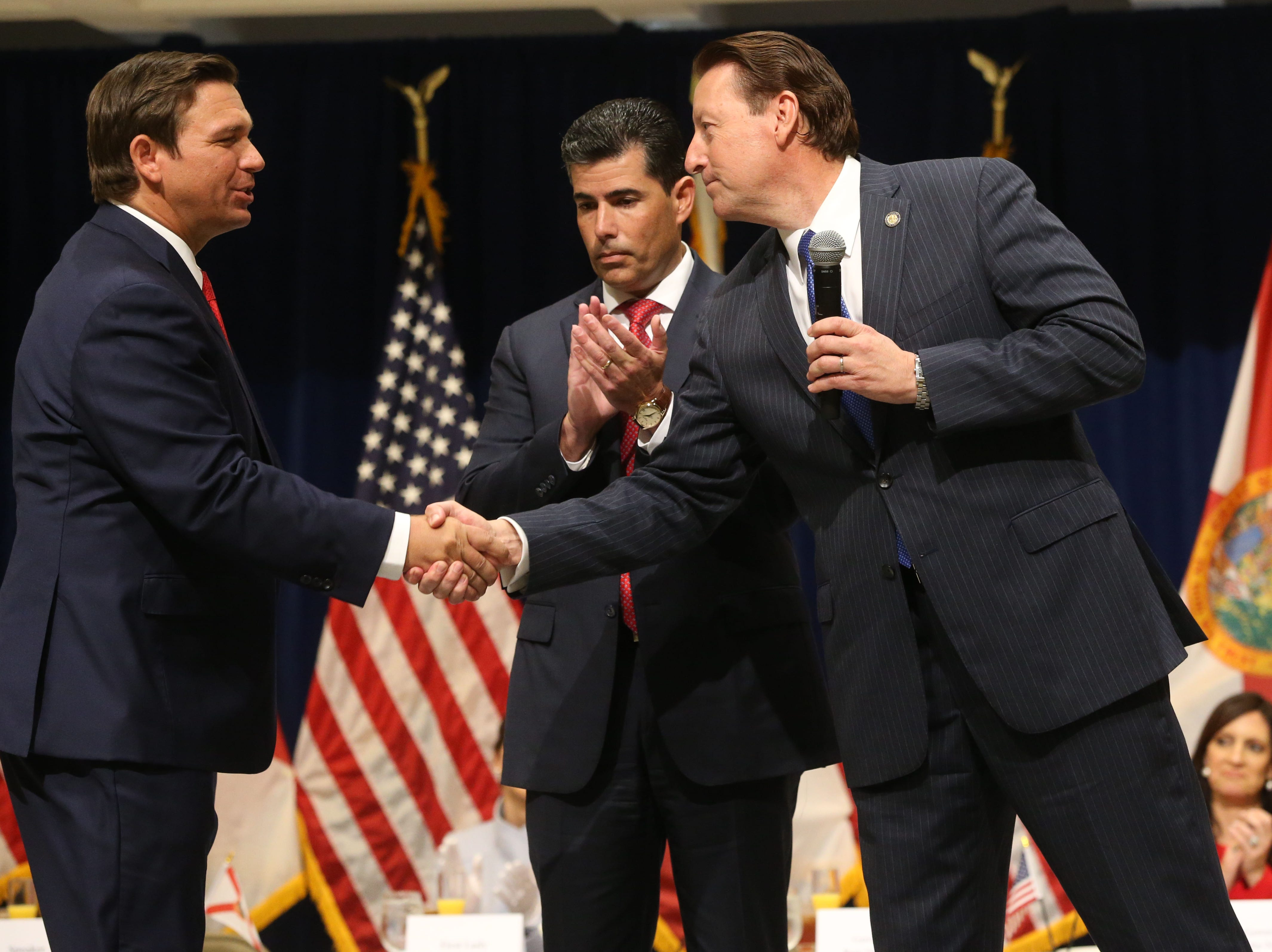 For the first time in Inaugural history, Gov. Ron DeSantis addresses FloridaÕs Legislative leaders and Cabinet officials. DeSantis discusses his plans to work with our stateÕs elected leaders to achieve a Bold Vision for a Brighter Future, Tuesday, Jan. 8, 2019. Gov. Ron DeSantis, left, shakes hands with Senate President Bill Galvano.