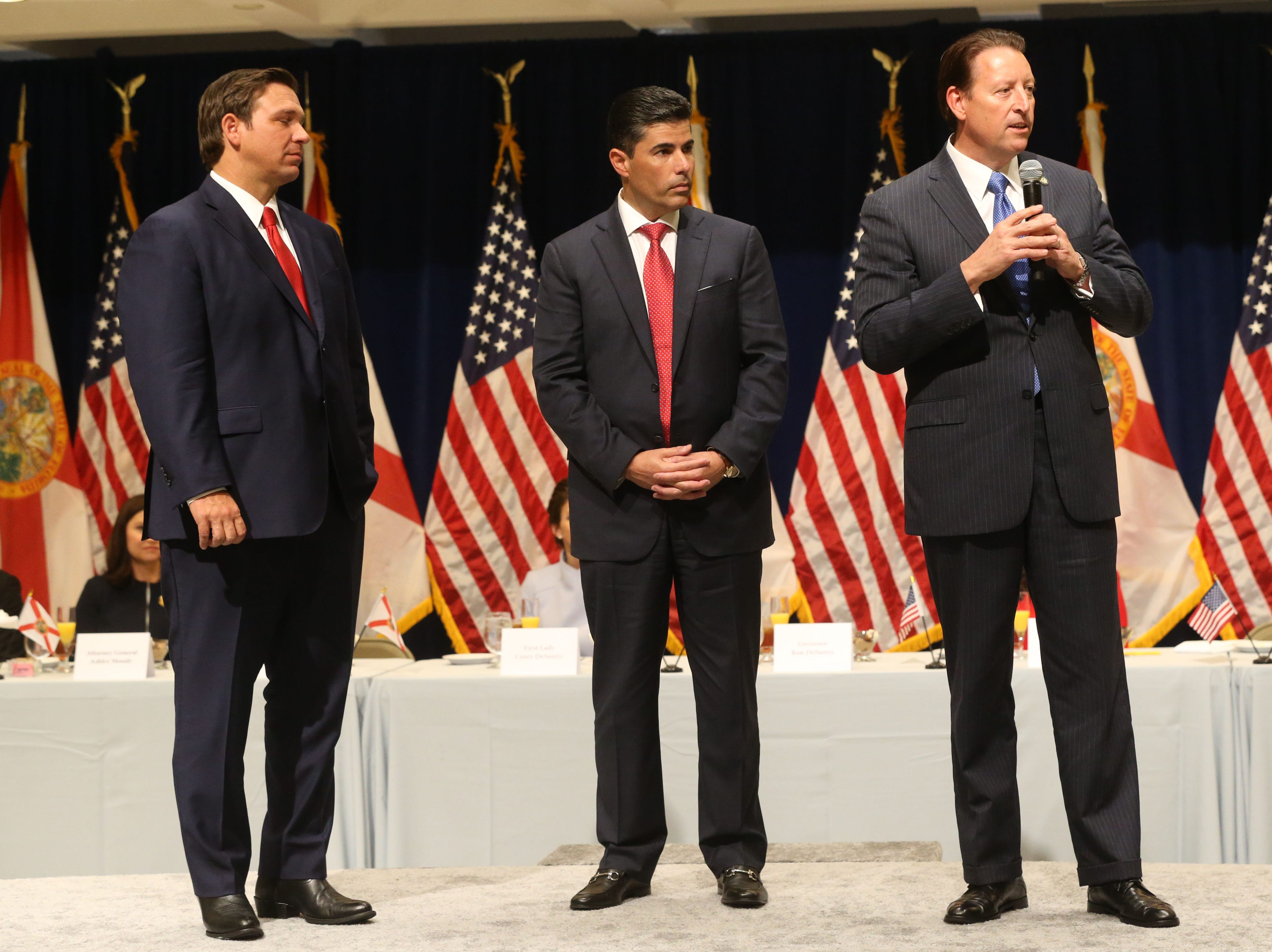 For the first time in Inaugural history, Gov. Ron DeSantis addresses FloridaÕs Legislative leaders and Cabinet officials. DeSantis discusses his plans to work with our stateÕs elected leaders to achieve a Bold Vision for a Brighter Future, Tuesday, Jan. 8, 2019. Gov. Ron DeSantis, left, stands with House Speaker Jose Oliva, as Senate President Bill Galvano gives a short speech.