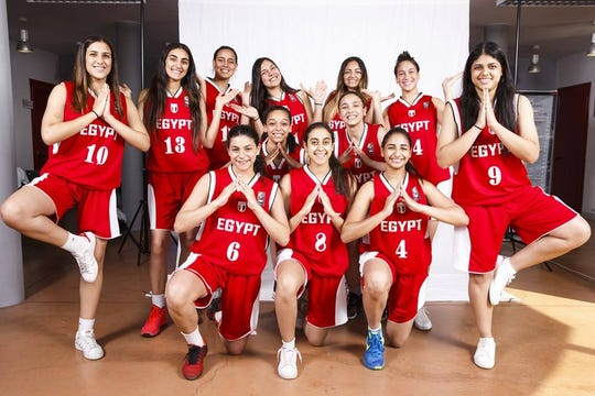 Nesma Khalifa (back row, third from the left) enjoyed success on the hardwood with her Egyptian national team. She now suits up with Tallahassee Community College.