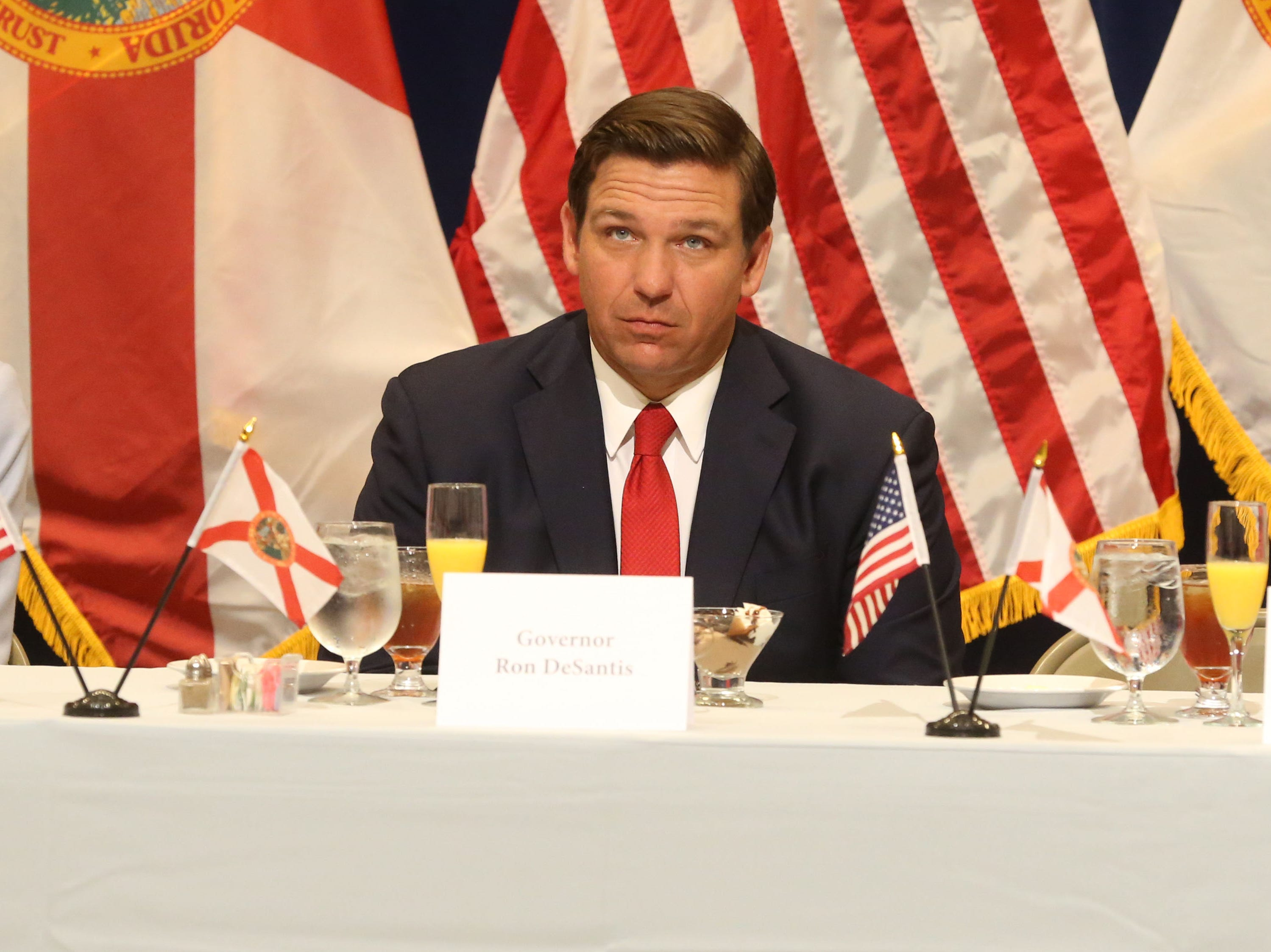 For the first time in Inaugural history, Gov. Ron DeSantis addresses FloridaÕs Legislative leaders and Cabinet officials. DeSantis discusses his plans to work with our stateÕs elected leaders to achieve a Bold Vision for a Brighter Future, Tuesday, Jan. 8, 2019. Gov. Ron DeSantis listens to Lt. Gov. Jeanette Nunez speak at the luncheon.