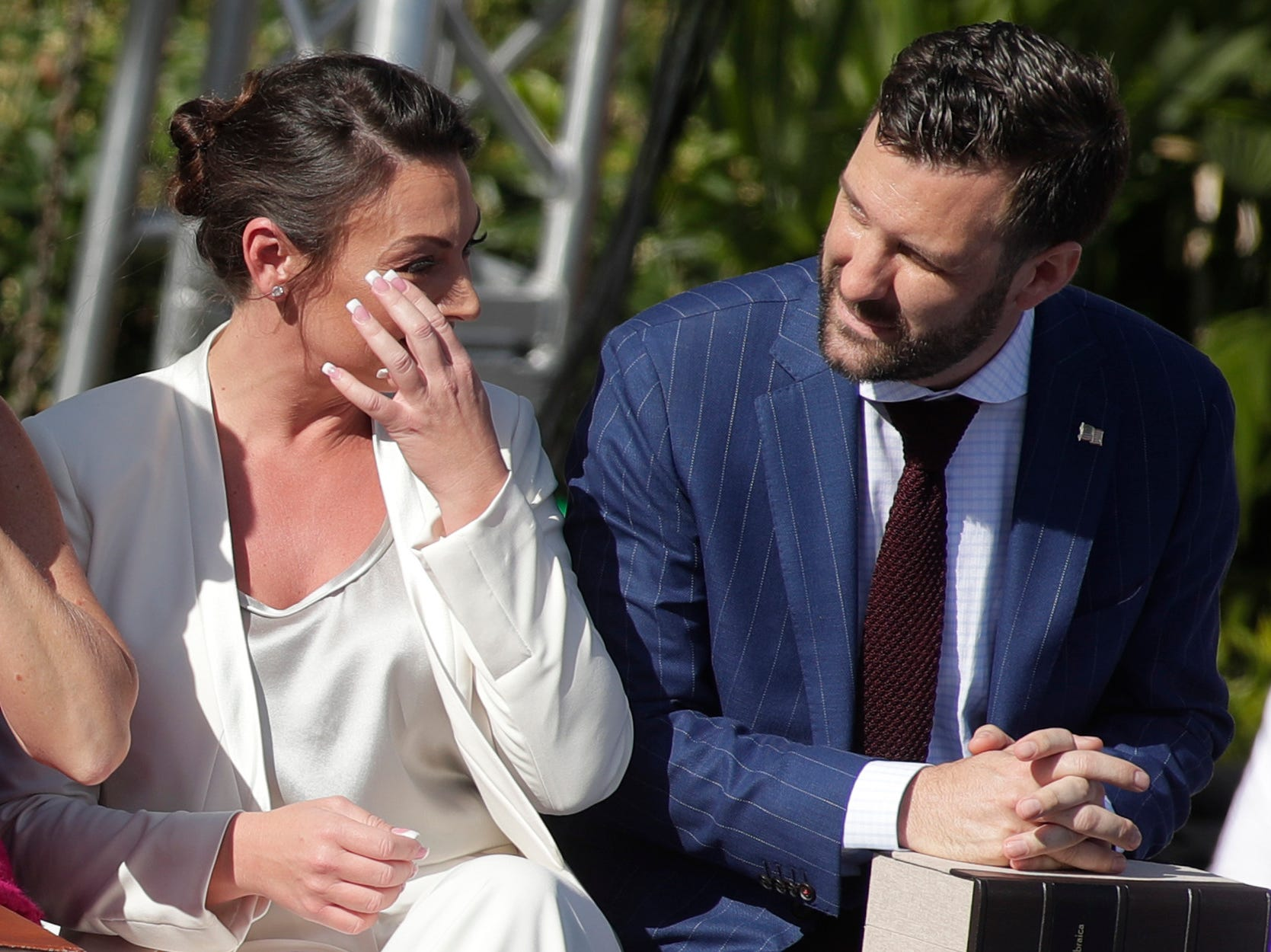 Commissioner of Agriculture and Consumer Services Nikki Fried wipes her eye after taking the oath of office during the 2019 inauguration ceremony on the steps of the Historic Capitol Building in Tallahassee Tuesday, Jan. 8, 2019.