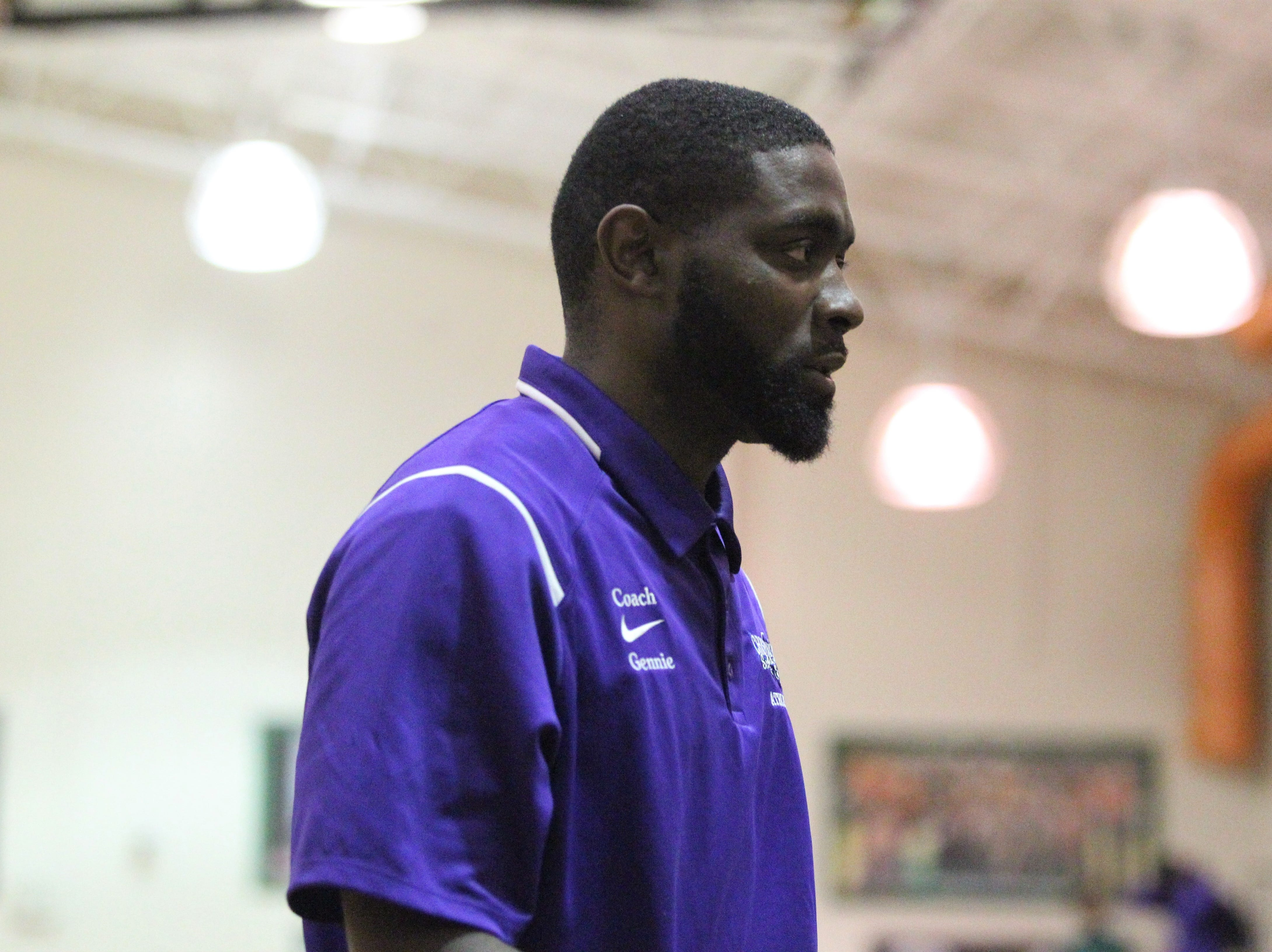 Crossroad Academy boys basketball coach AnDonte Gennie heads into the locker room at halftime as his team plays at FAMU DRS on Jan. 7, 2019.