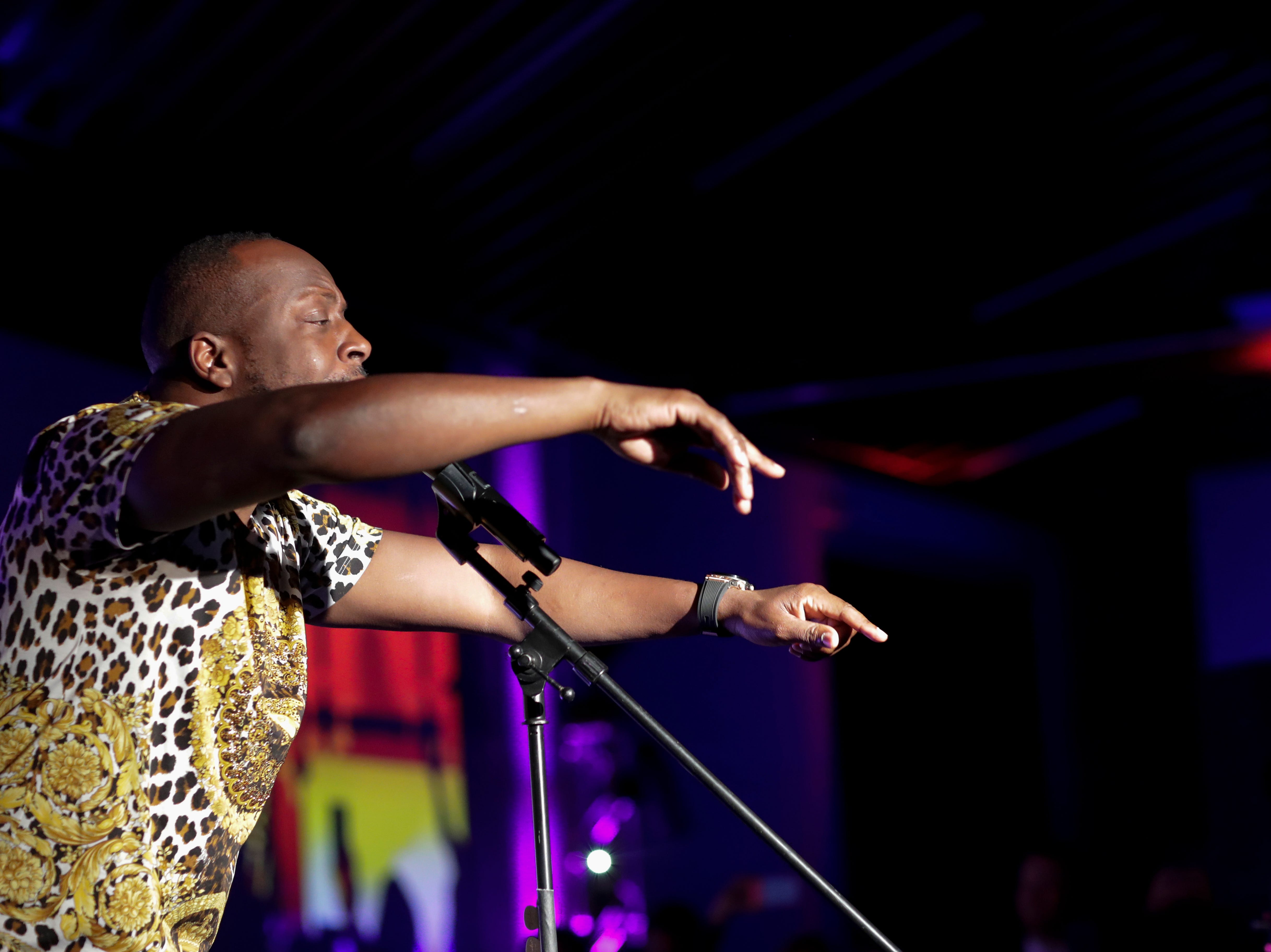 """Wyclef Jean performs during the """"Growing a Stronger Florida"""" Inaugural Celebration honoring Agriculture and Consumer Services Commissioner Nikki Fried in the University Center Club at Florida State University Monday, Jan. 7, 2019."""