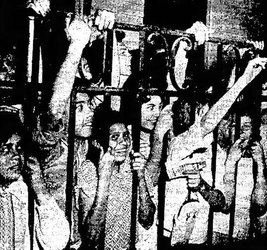 Fans greet Elvis Presley at the Union Depot on April 20, 1960.