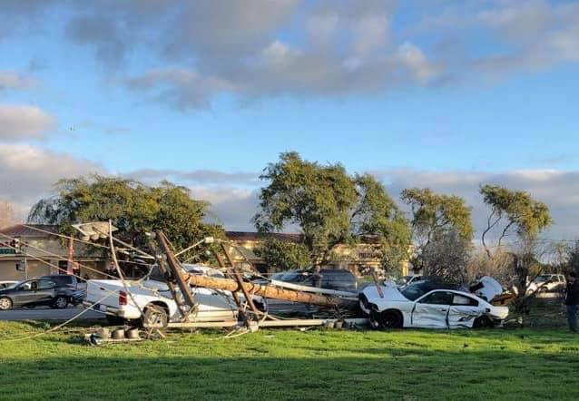Roads were closed near the intersection of Teal Club and Ventura roads in Oxnard on Monday due to a crash that caused downed power lines in the area.