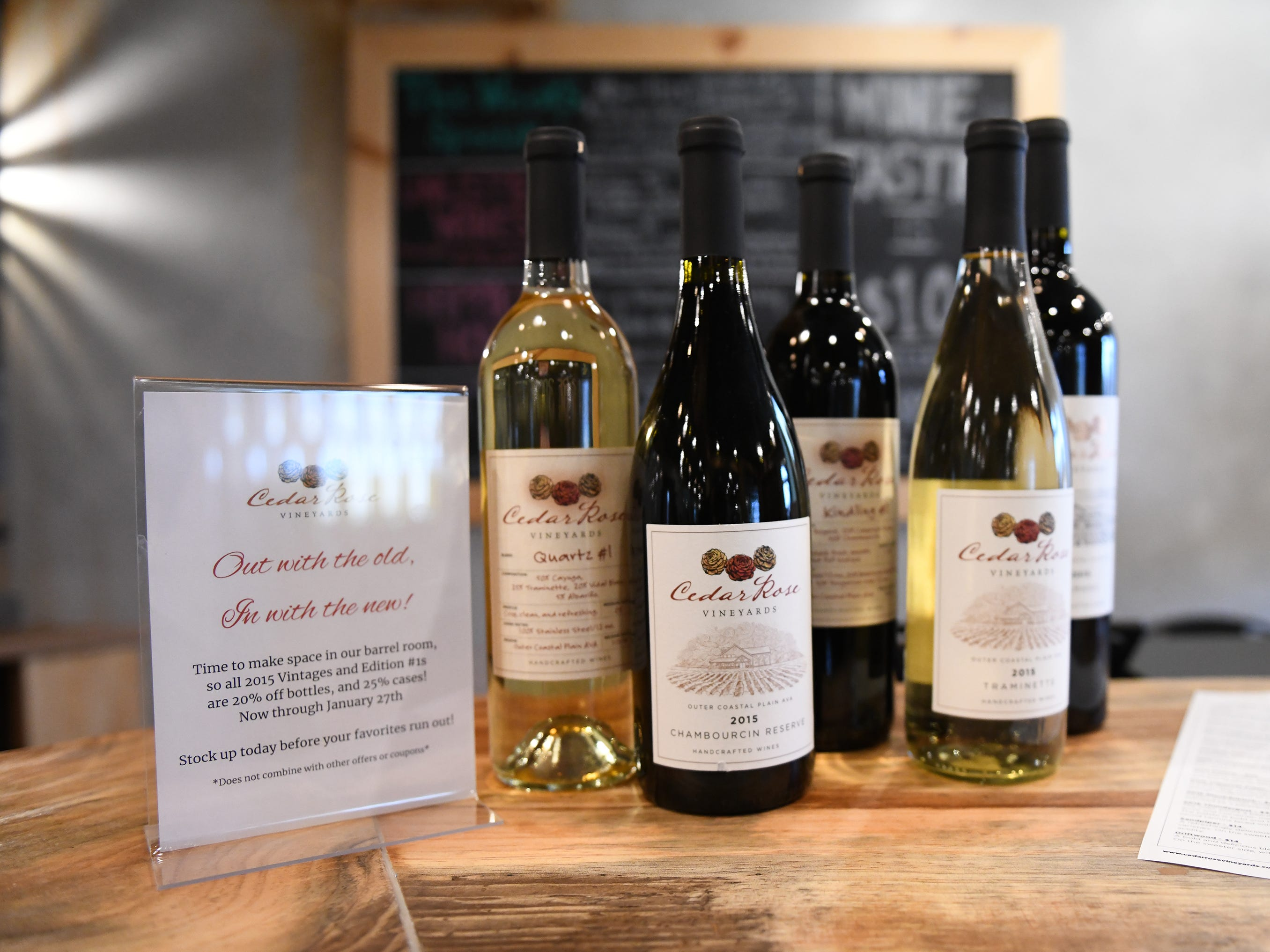 A selection of wine on display at Cedar Rose Vineyards in Rosenhayn on Tuesday, January 8, 2019.
