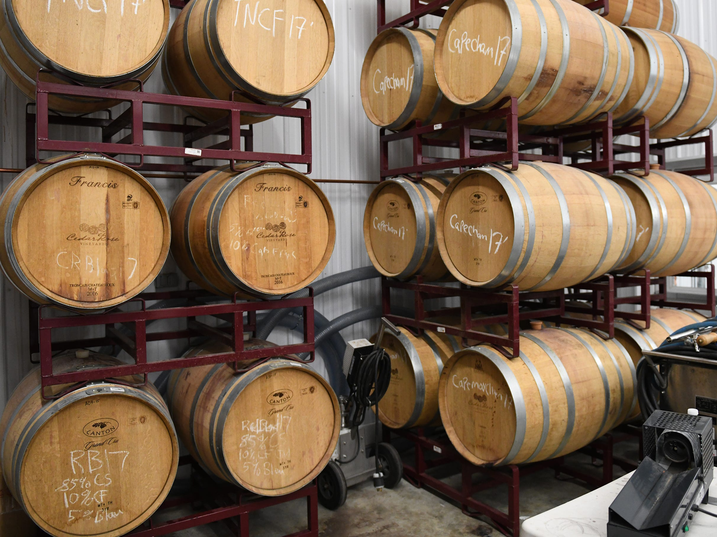 Barrels of wine are held in storage at Cedar Rose Vineyards in Rosenhayn, pictured here on Tuesday, January 8, 2019.