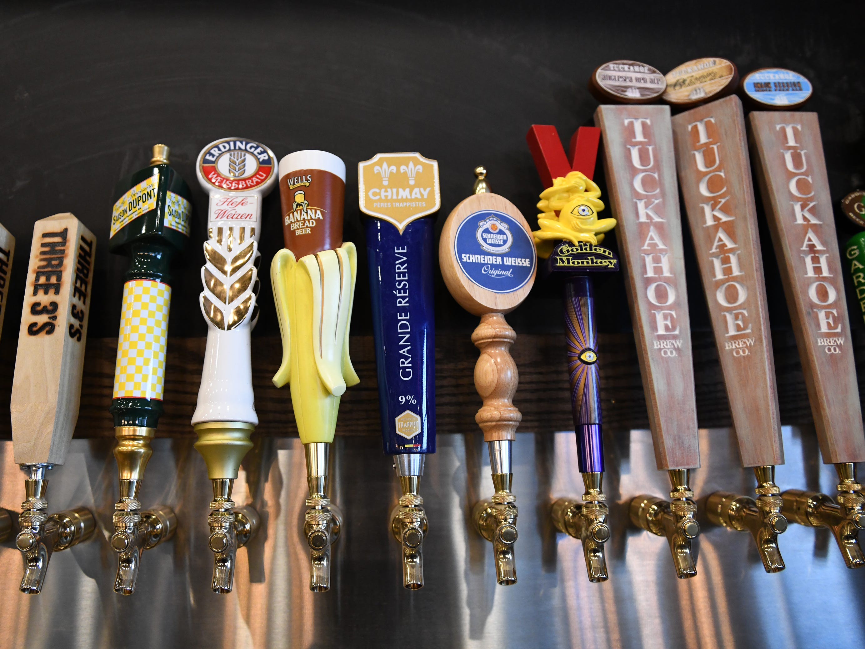 Some of the craft beers on tap at The Brass Tap in Vineland at the corner of South Delsea Drive and Sherman Avenue on Monday, Jan. 8. 2019.