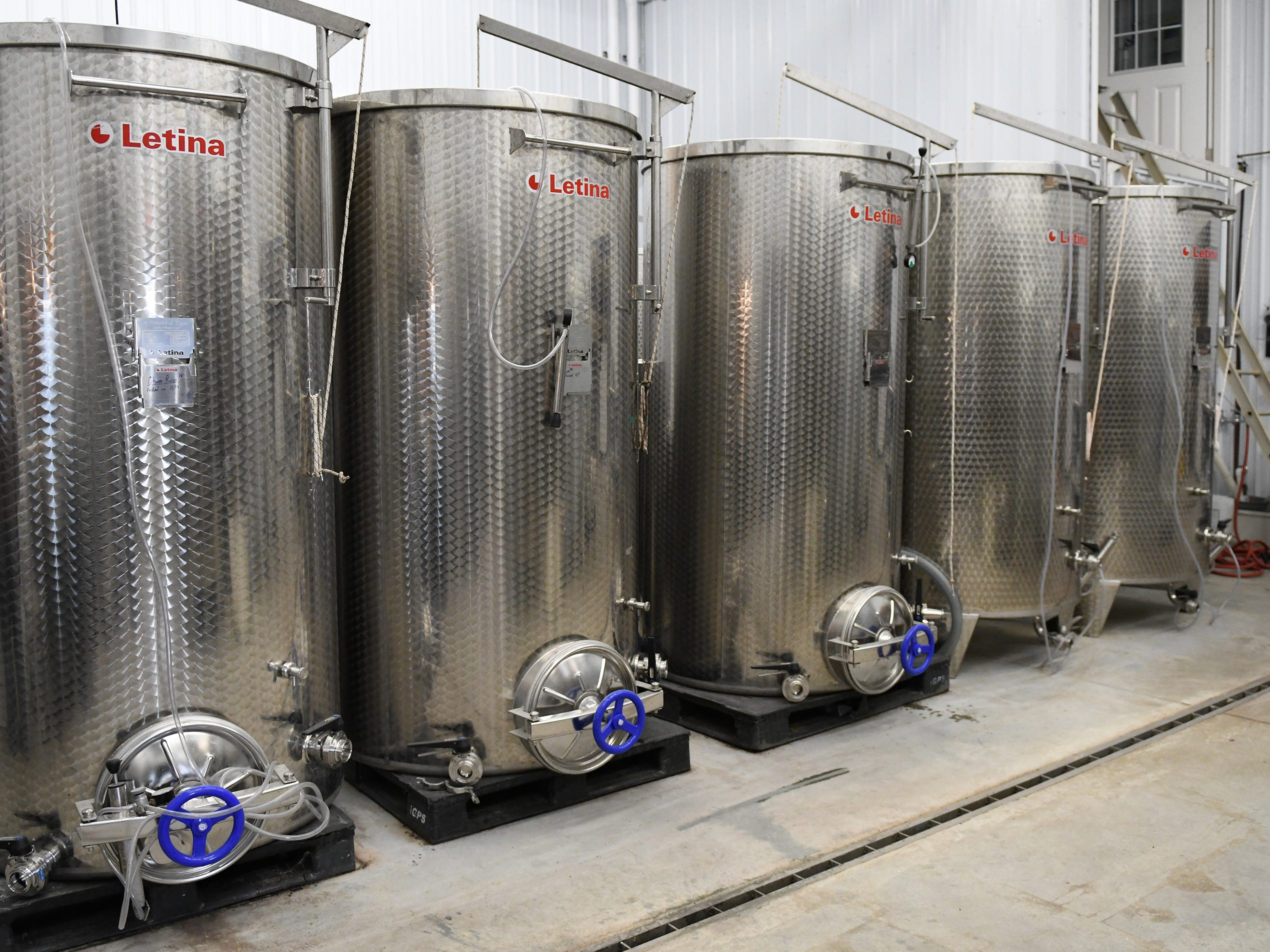 Stainless steel wine vats at Cedar Rose Vineyards in Rosenhayn on Tuesday, Jan. 8, 2019.