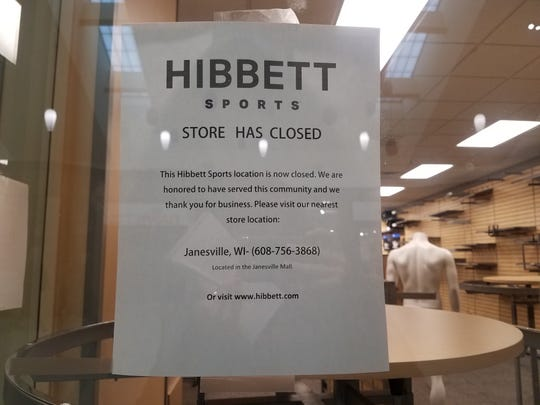 Hibbett Sports in the Wausau Center Mall posted a closing sign on Monday, Jan. 7, 2019.