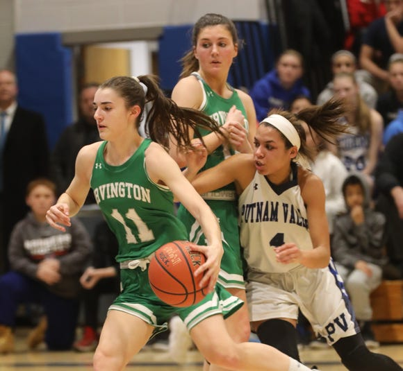 Irvington's Abby Conklin (11) dribbling during girls basketball game at Putnam Valley High School on Jan. 7, 2019. Irvington defeats Putnam Valley 42-34.