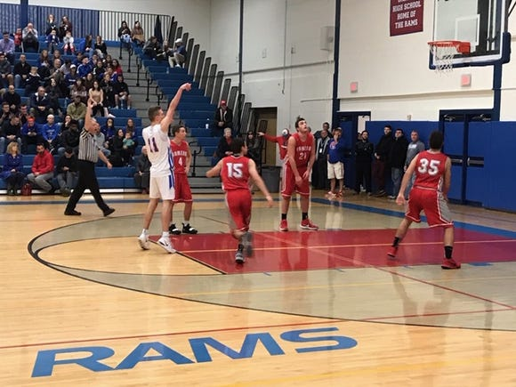 Carmel's Shane McNerney shoots a free throw during his team's 59-58 win over visiting Somers on Jan. 5, 2019.