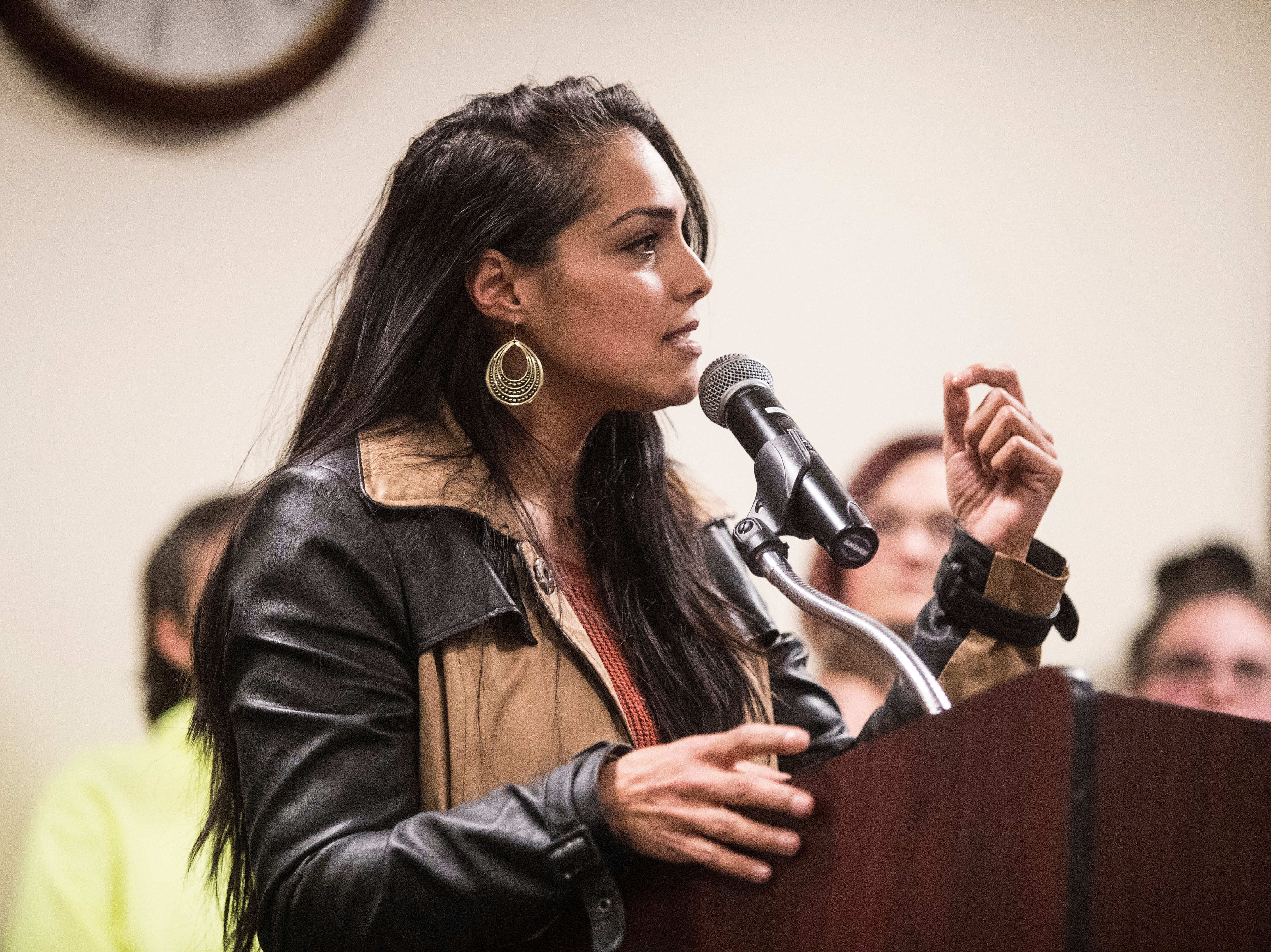 India Colon speaks out against the Hummers Parade to the Middletown City Council Monday night at Town Hall.
