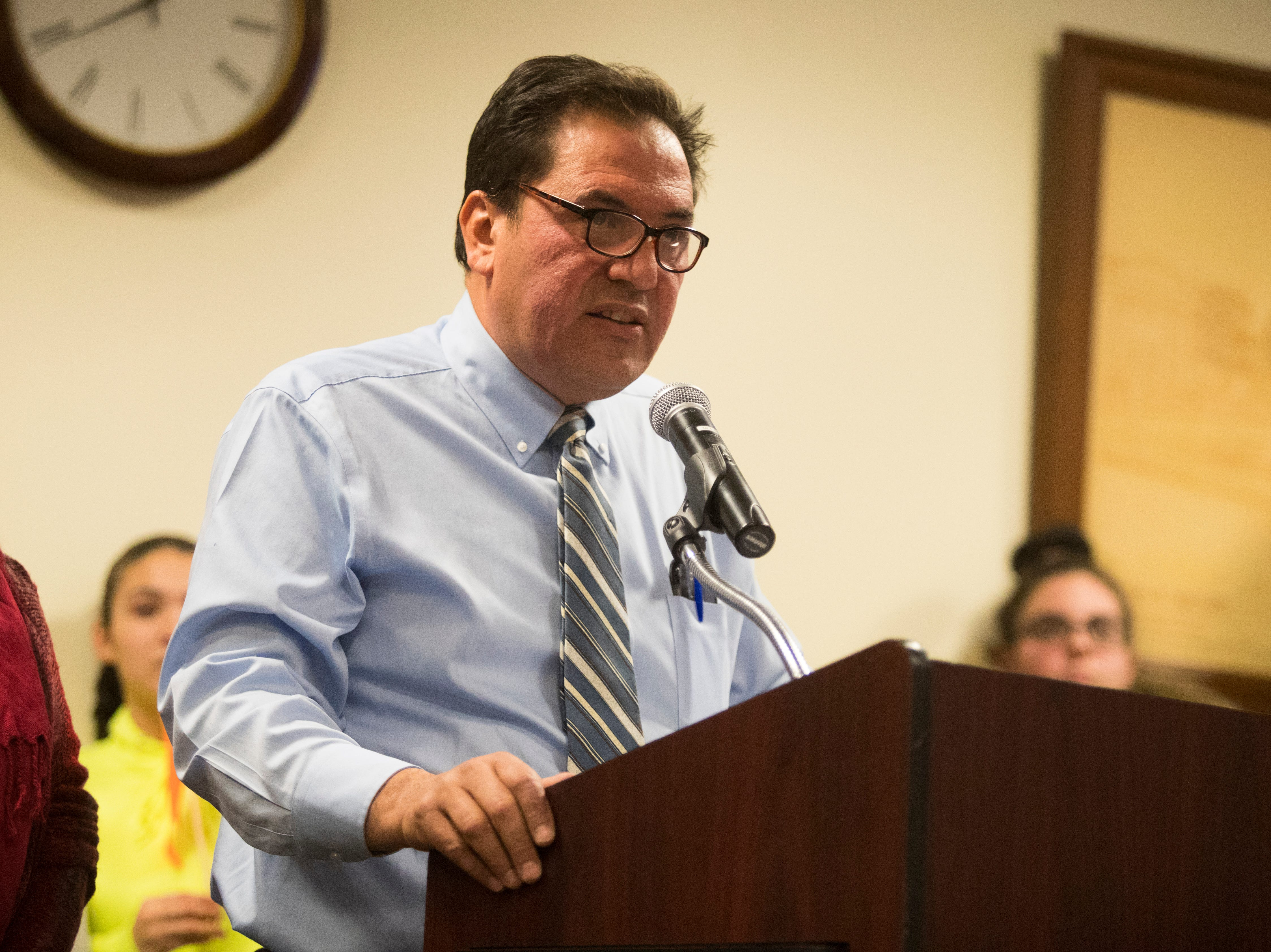 Delaware Hispanic Commission Chairman Javier Torrijos speaks to the Middletown City Council about the recent Hummers Parade Monday night at Town Hall.