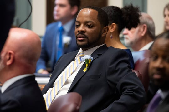 Darius Brown, D-Wilmington East during the start of the 150th General Assembly at Legislative Hall in Dover.